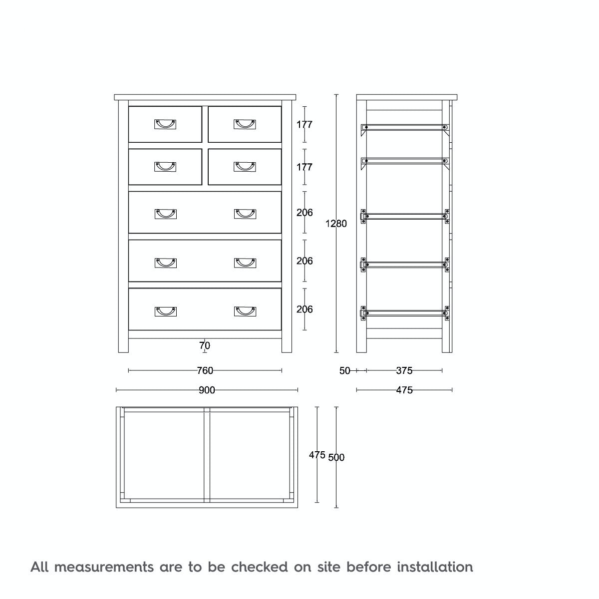 Dimensions for MFI Rome oak 4 over 3 drawer chest