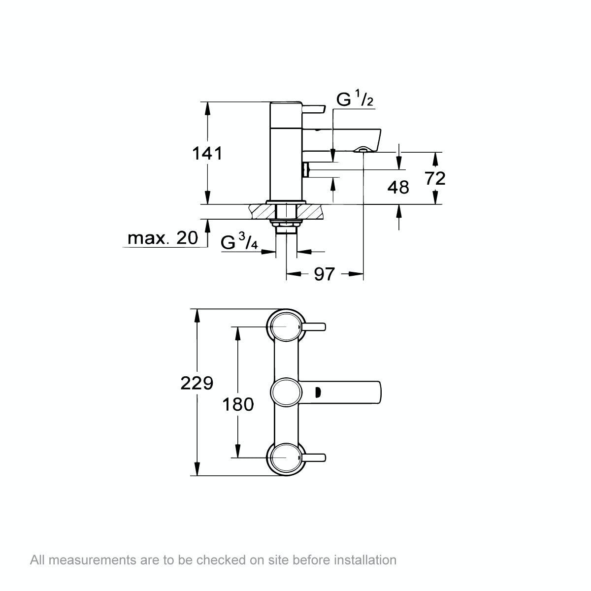 Dimensions for Grohe Concetto bath shower mixer tap