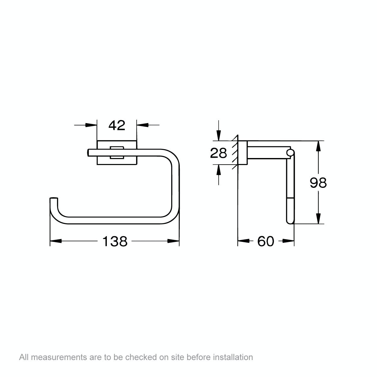 Dimensions for Grohe Essentials Cube toilet roll holder