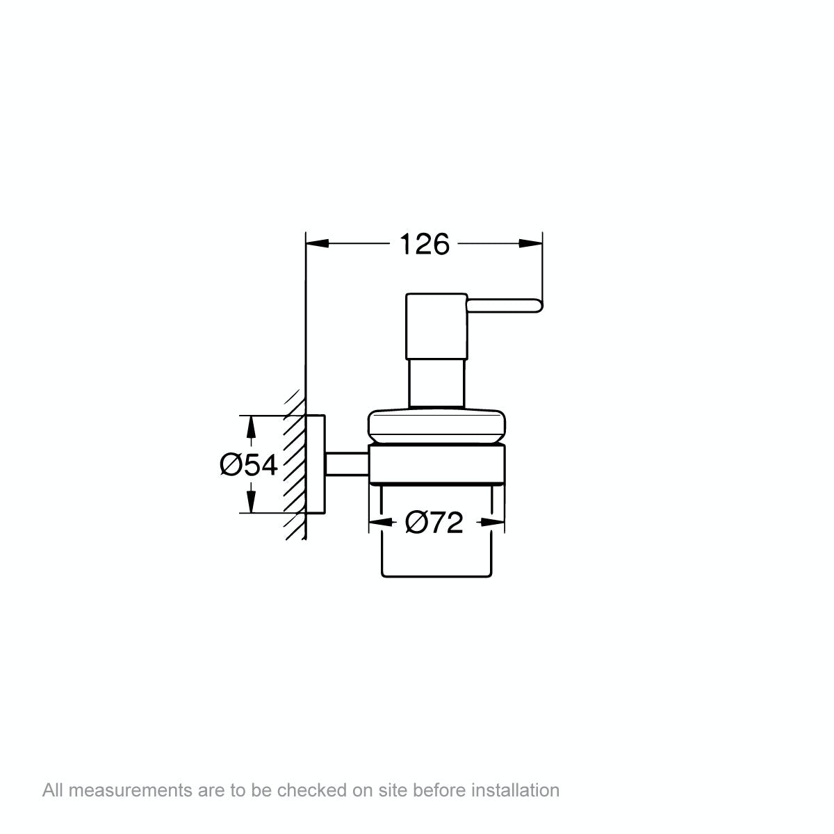 Dimensions for Grohe Essentials soap dispenser and holder
