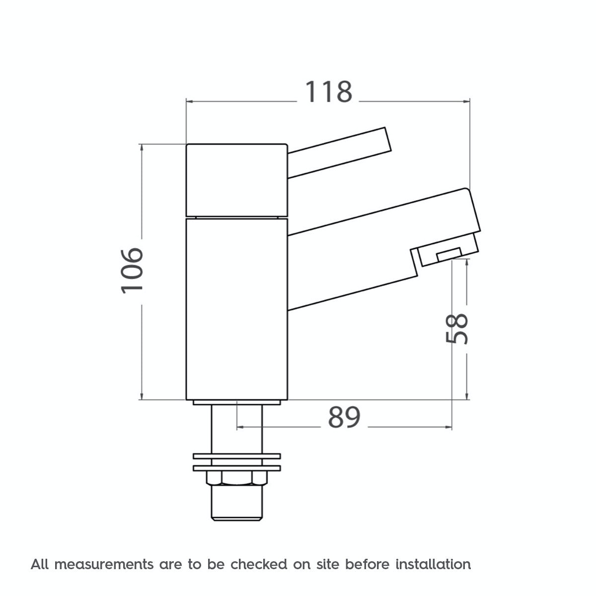Dimensions for Orchard Matrix basin pillar taps
