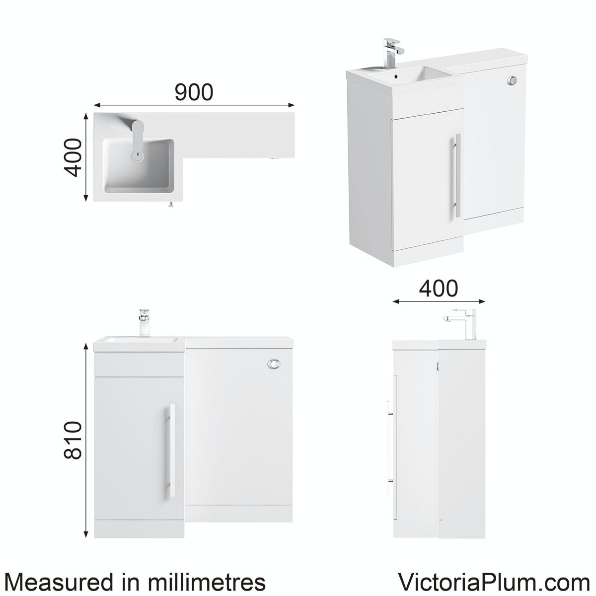 Dimensions for MySpace white left handed unit including concealed cistern