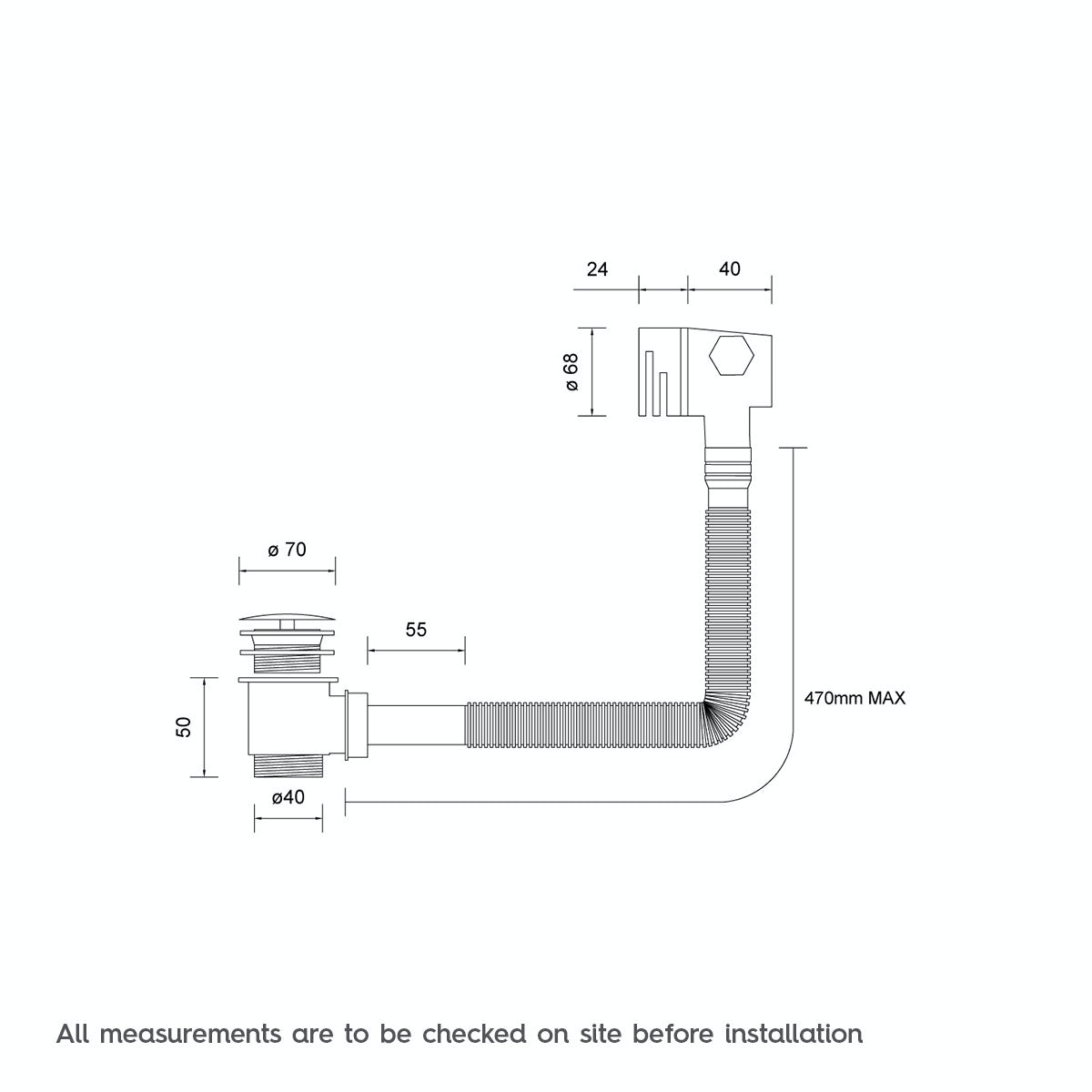 Dimensions for Bath filler and integral waste and overflow
