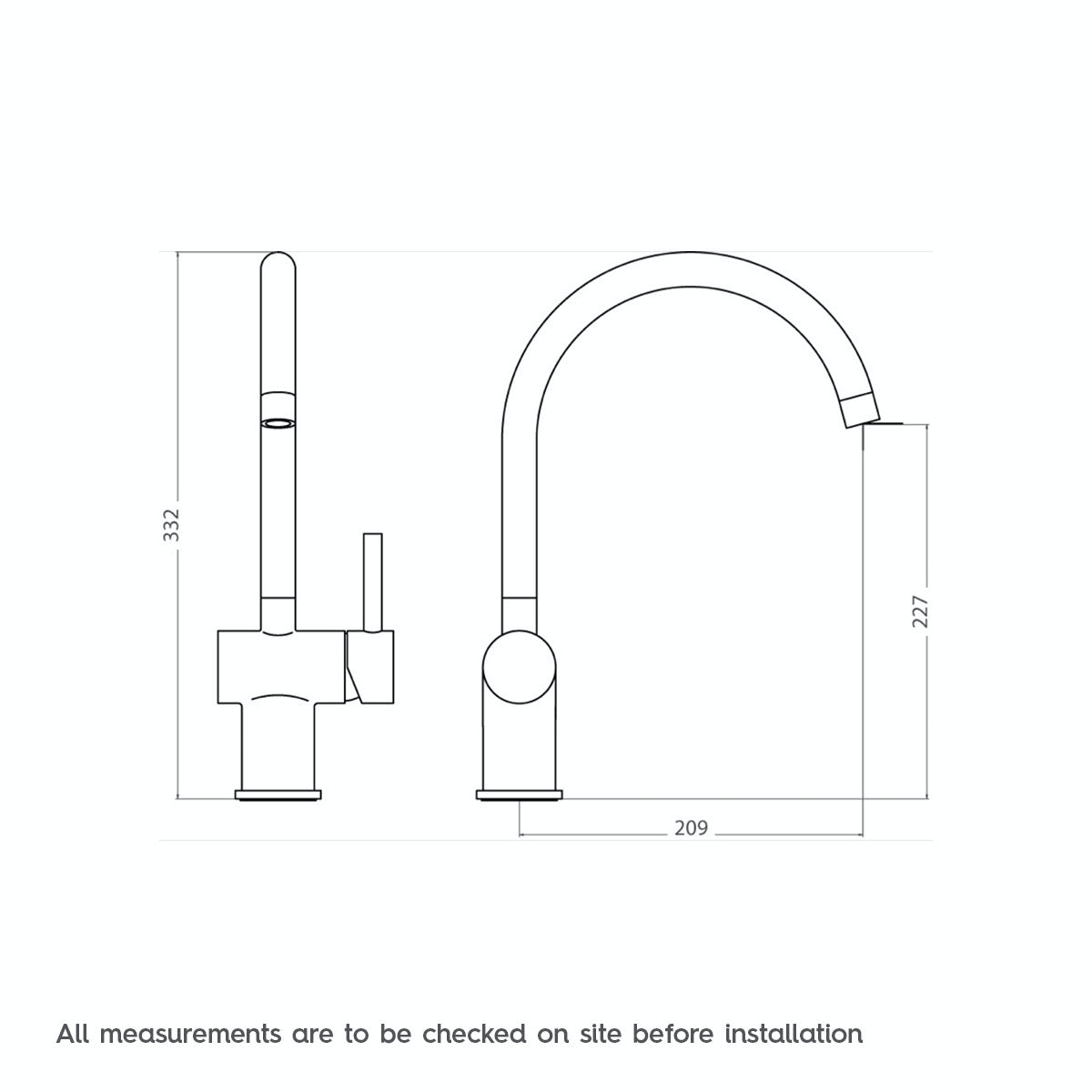 Dimensions for Phaze side action kitchen tap