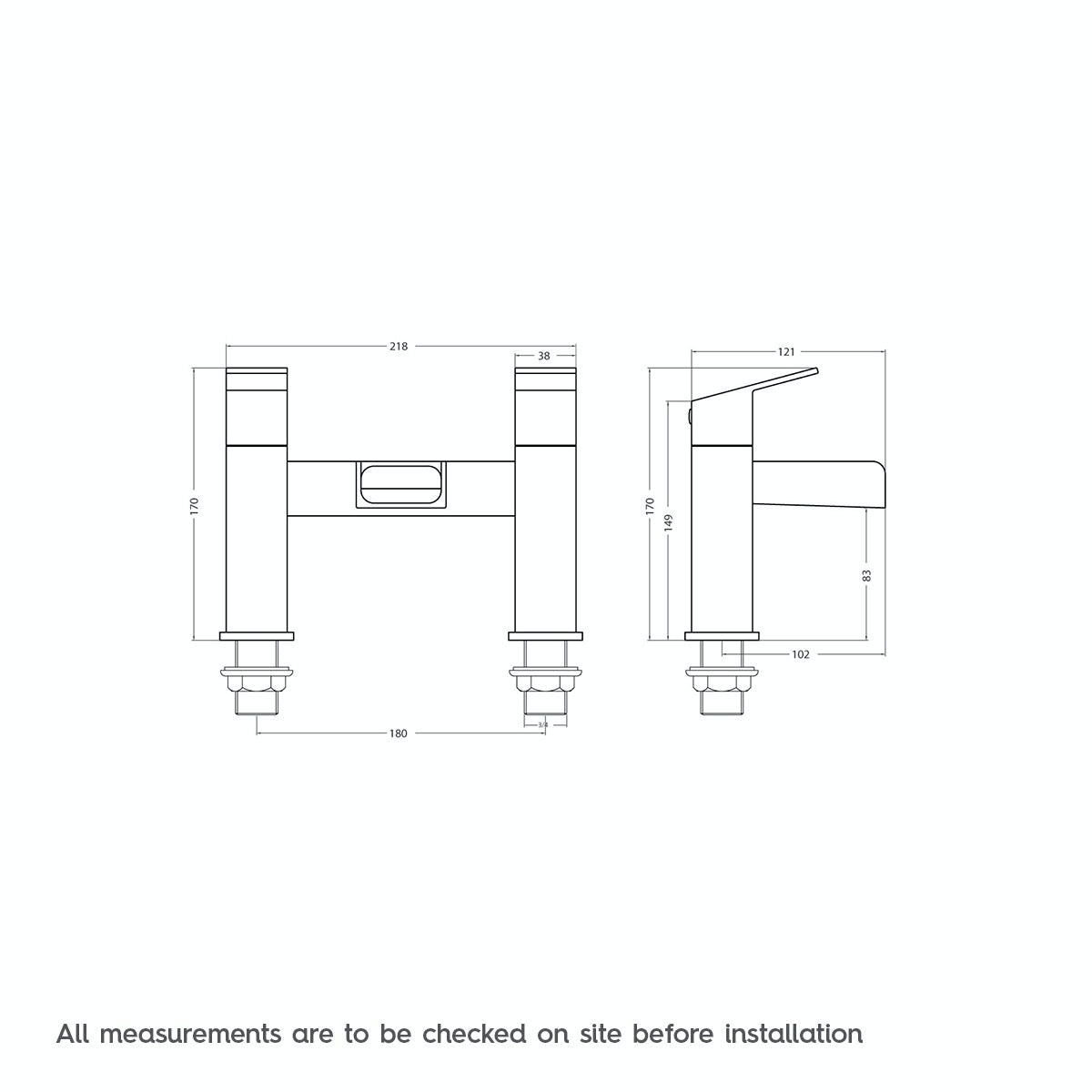Dimensions for Orchard Wye waterfall bath mixer tap