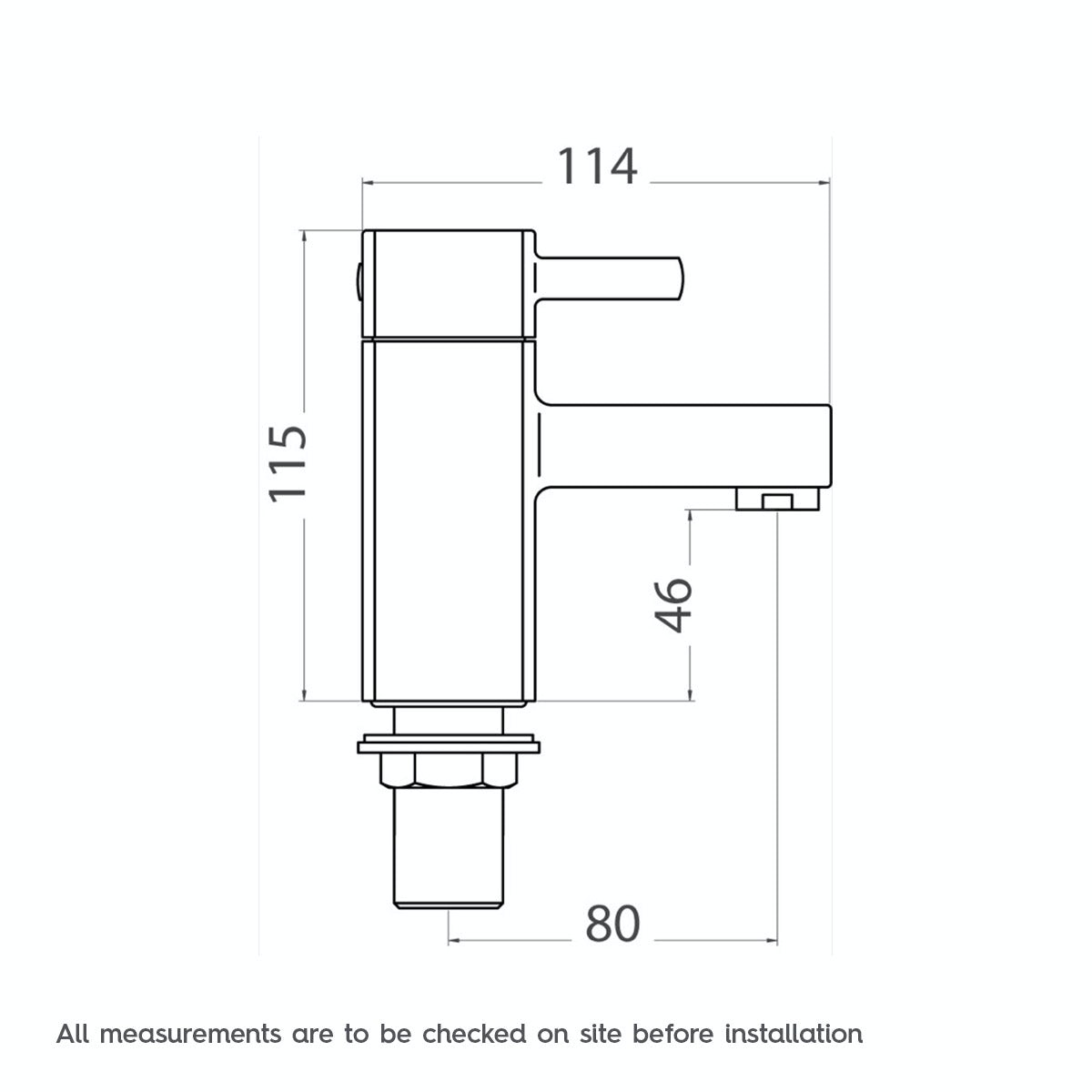 Dimensions for Orchard Derwent bath pillar taps