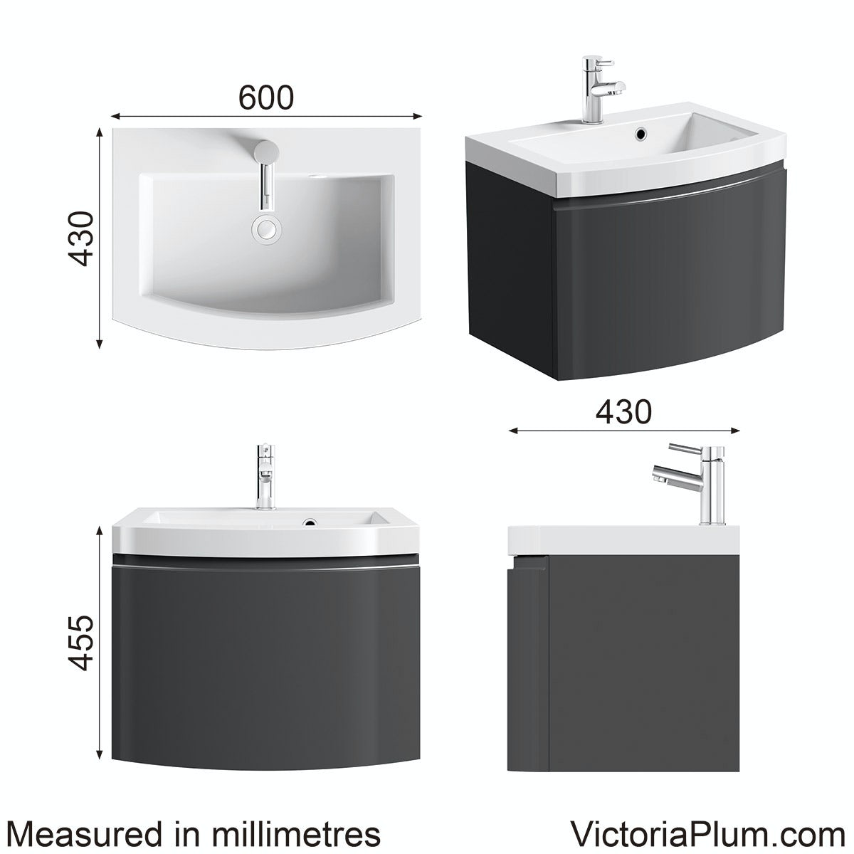 Dimensions for Mode Harrison slate wall hung vanity unit and basin 600mm