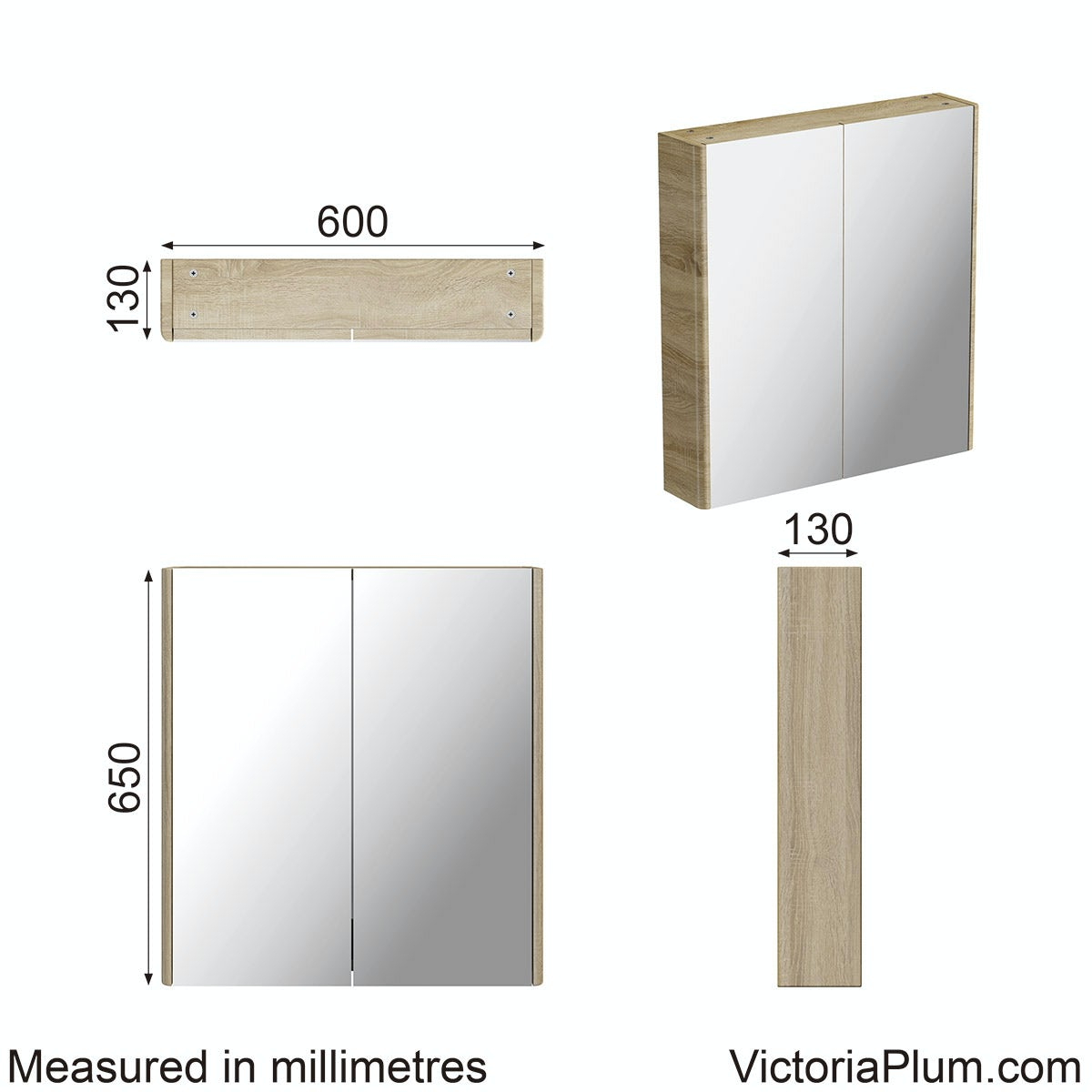 Dimensions for Mode Sherwood oak curved mirror cabinet 600mm