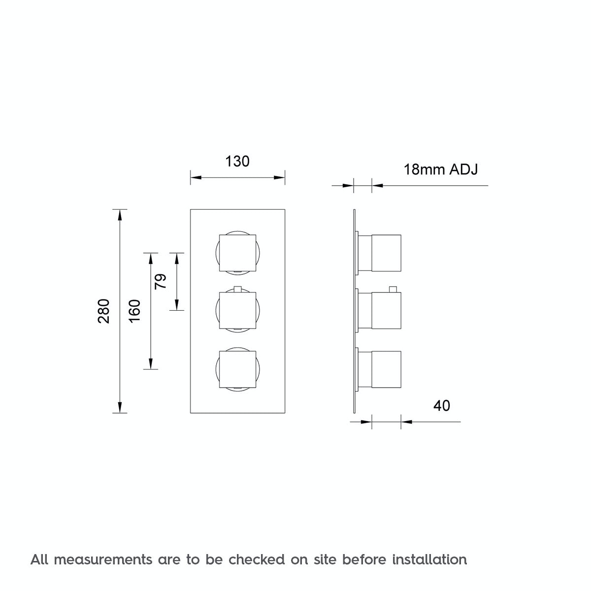 Dimensions for Mode Cubik square triple thermostatic shower valve