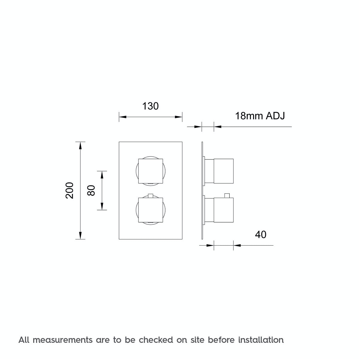 Dimensions for Mode Cubik square twin thermostatic shower valve