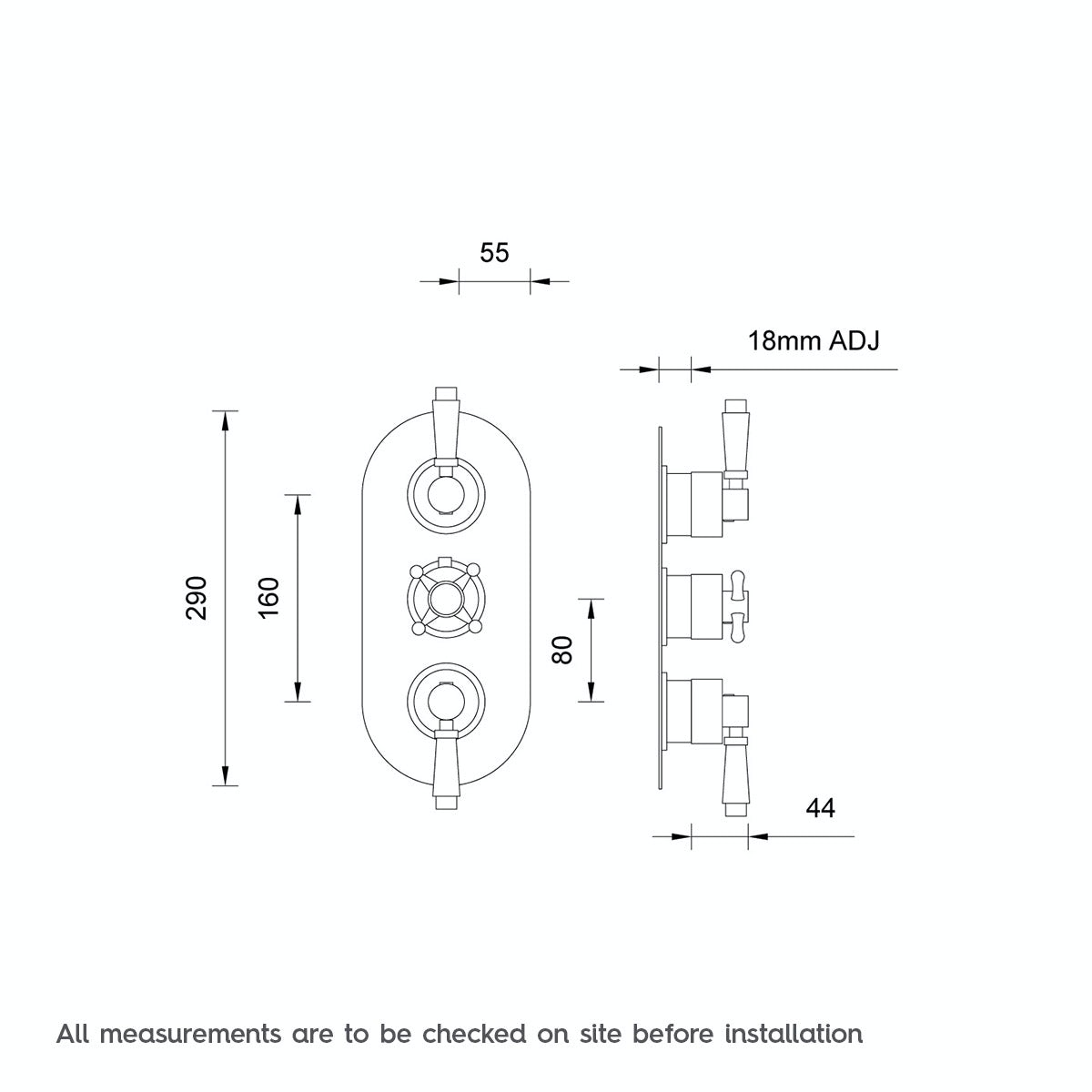 Dimensions for The Bath Co. Traditional oval triple thermostatic shower valve with diverter