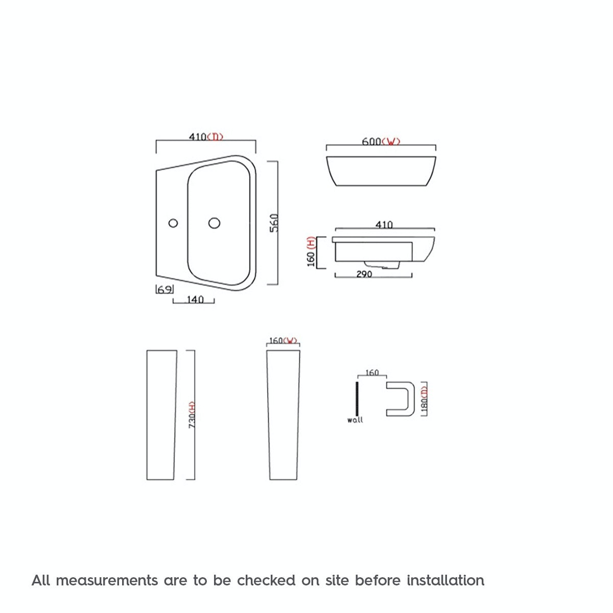 Dimensions for Mode Foster 1 tap hole full pedestal basin 600mm