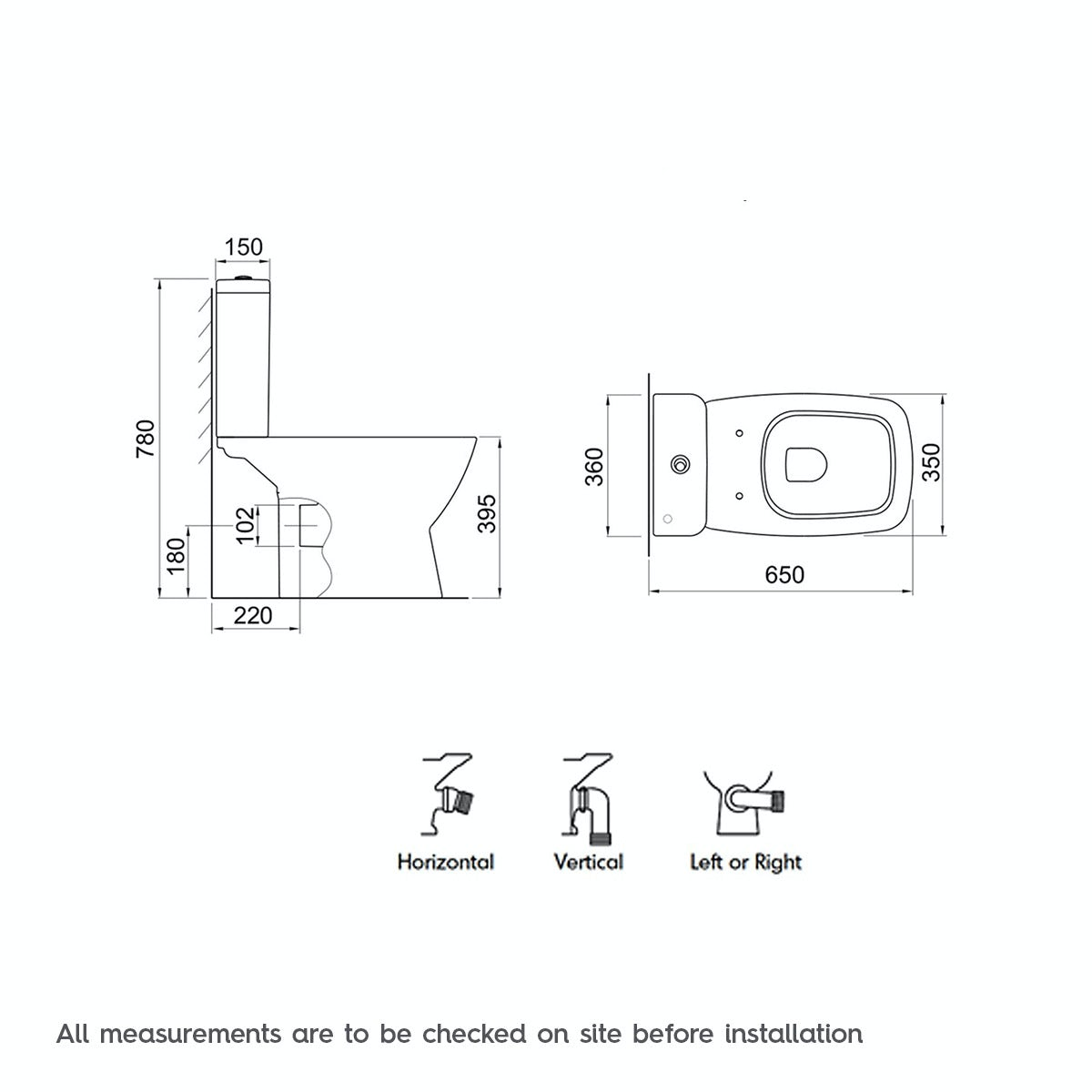 Dimensions for Mode Cooper close coupled toilet with soft close seat