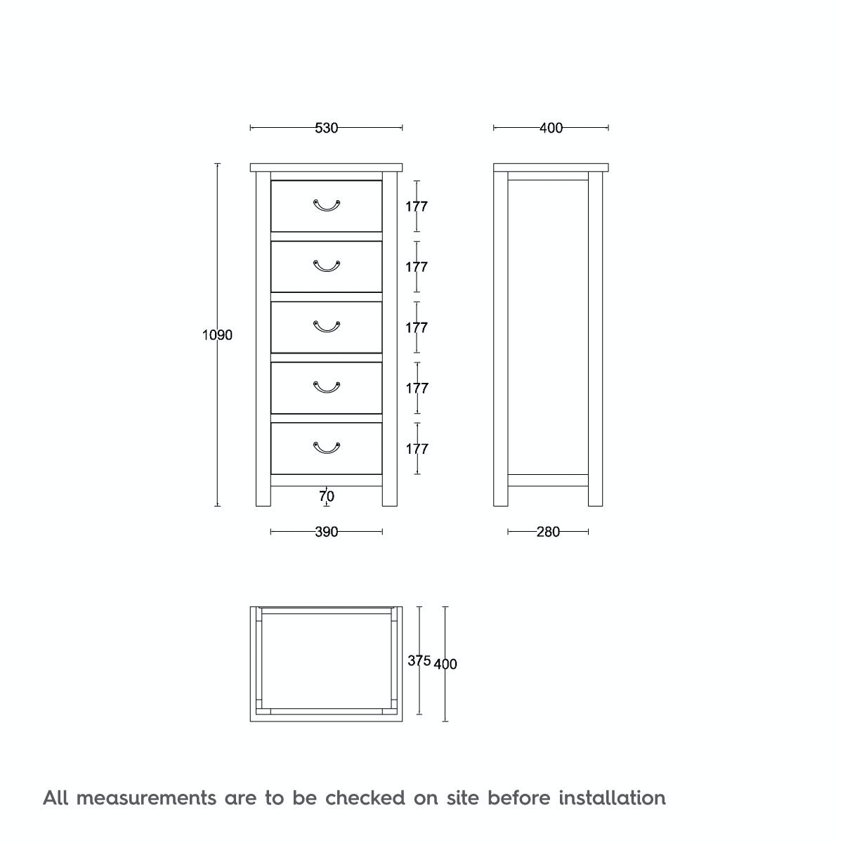 Dimensions for MFI Rome reclaimed pine 5 drawer tall chest