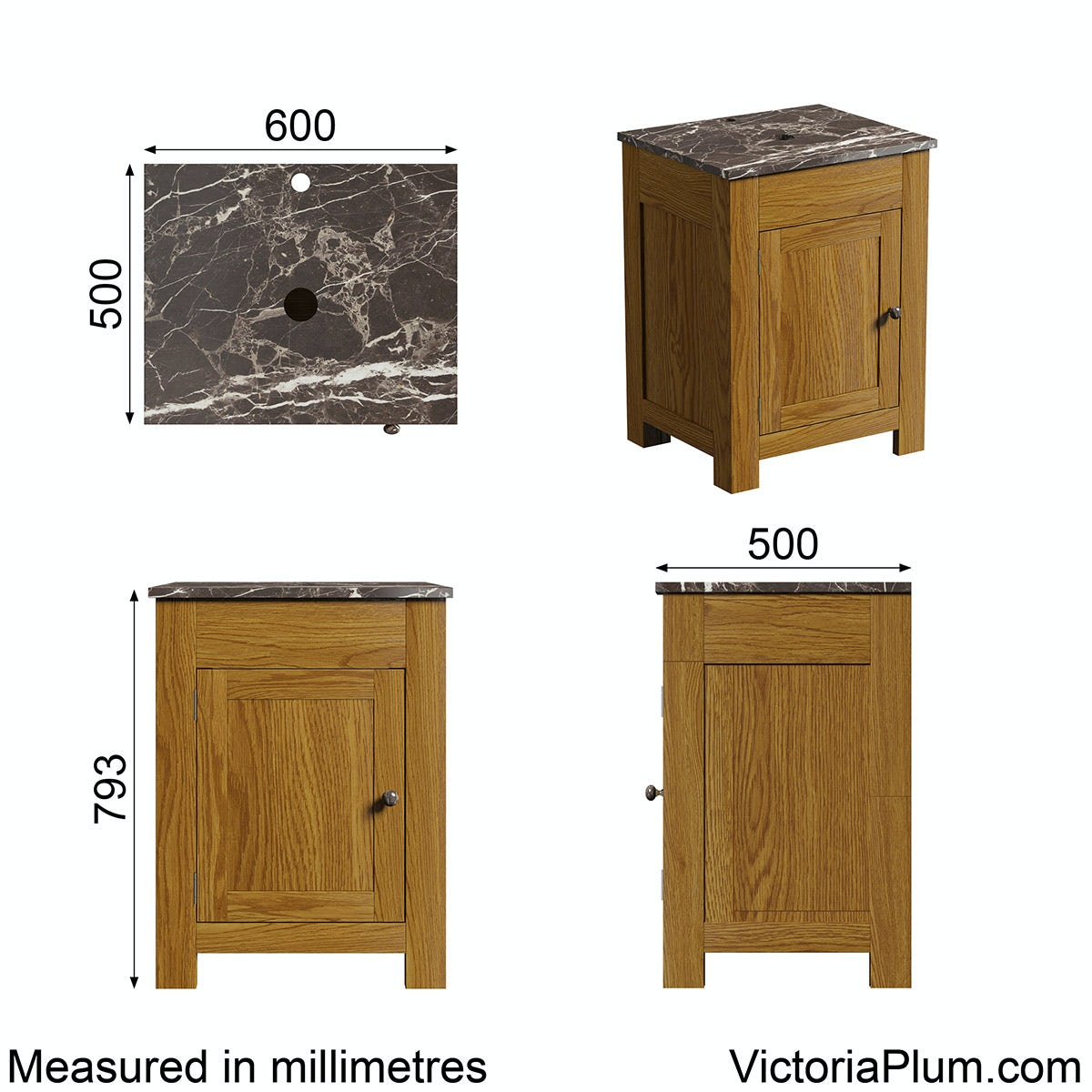 Dimensions for The Bath Co. Chester oak washstand with brown marble top 600mm