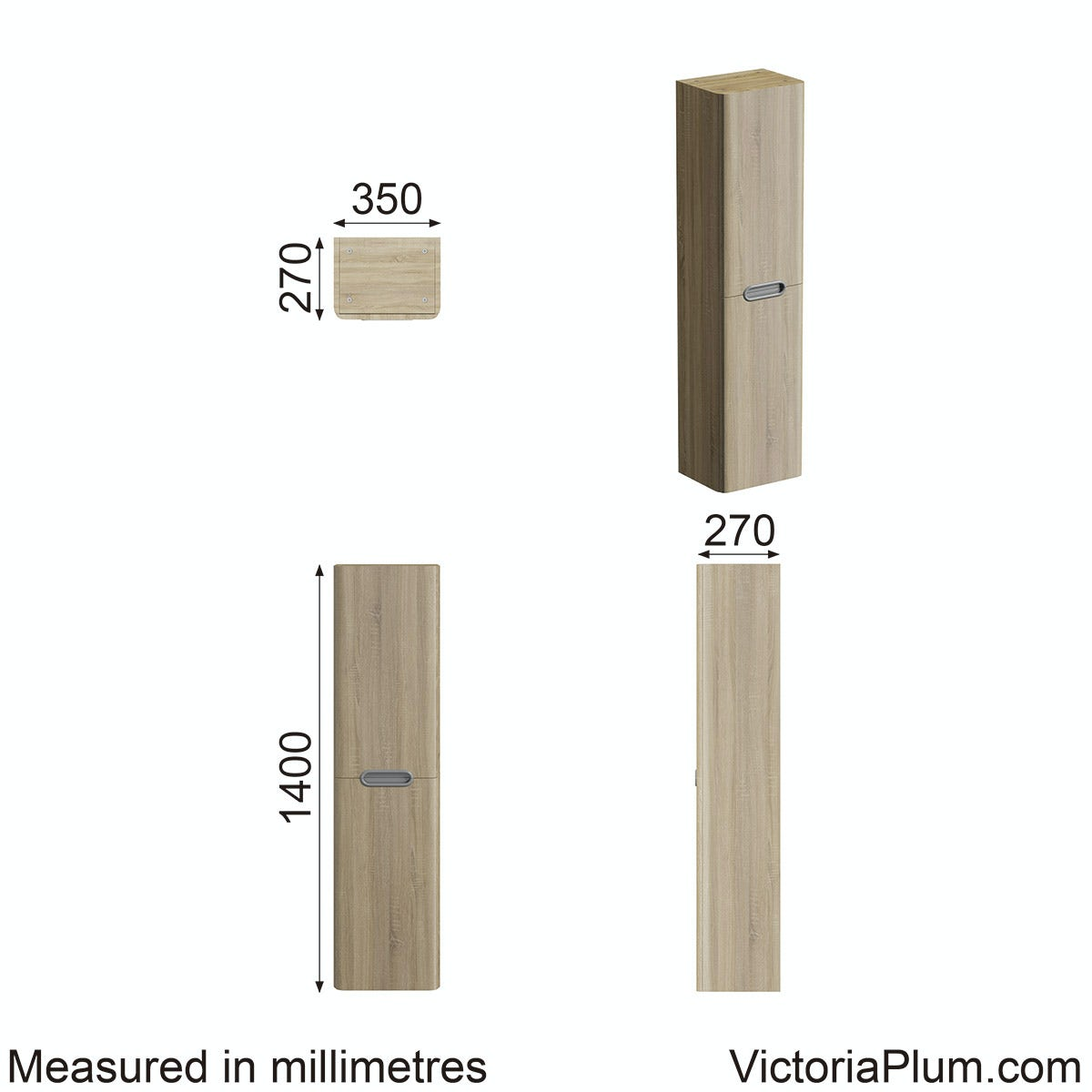 Dimensions for Mode Sherwood  wall mounted storage  Unit  in Oak