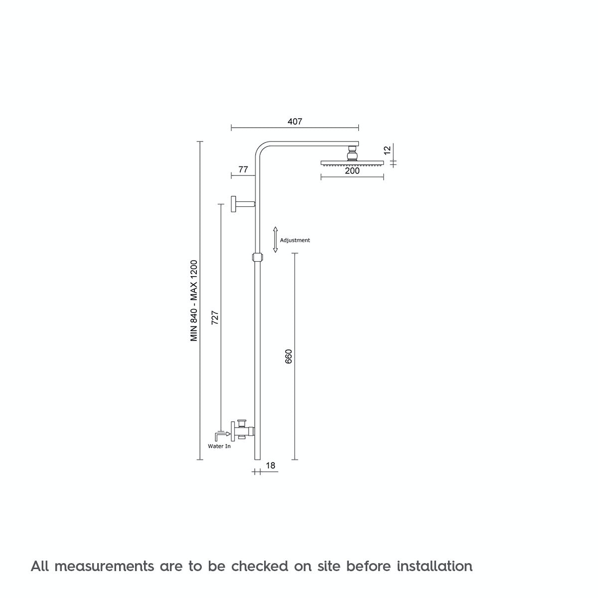 Dimensions for Mode Tetra square shower riser rail kit