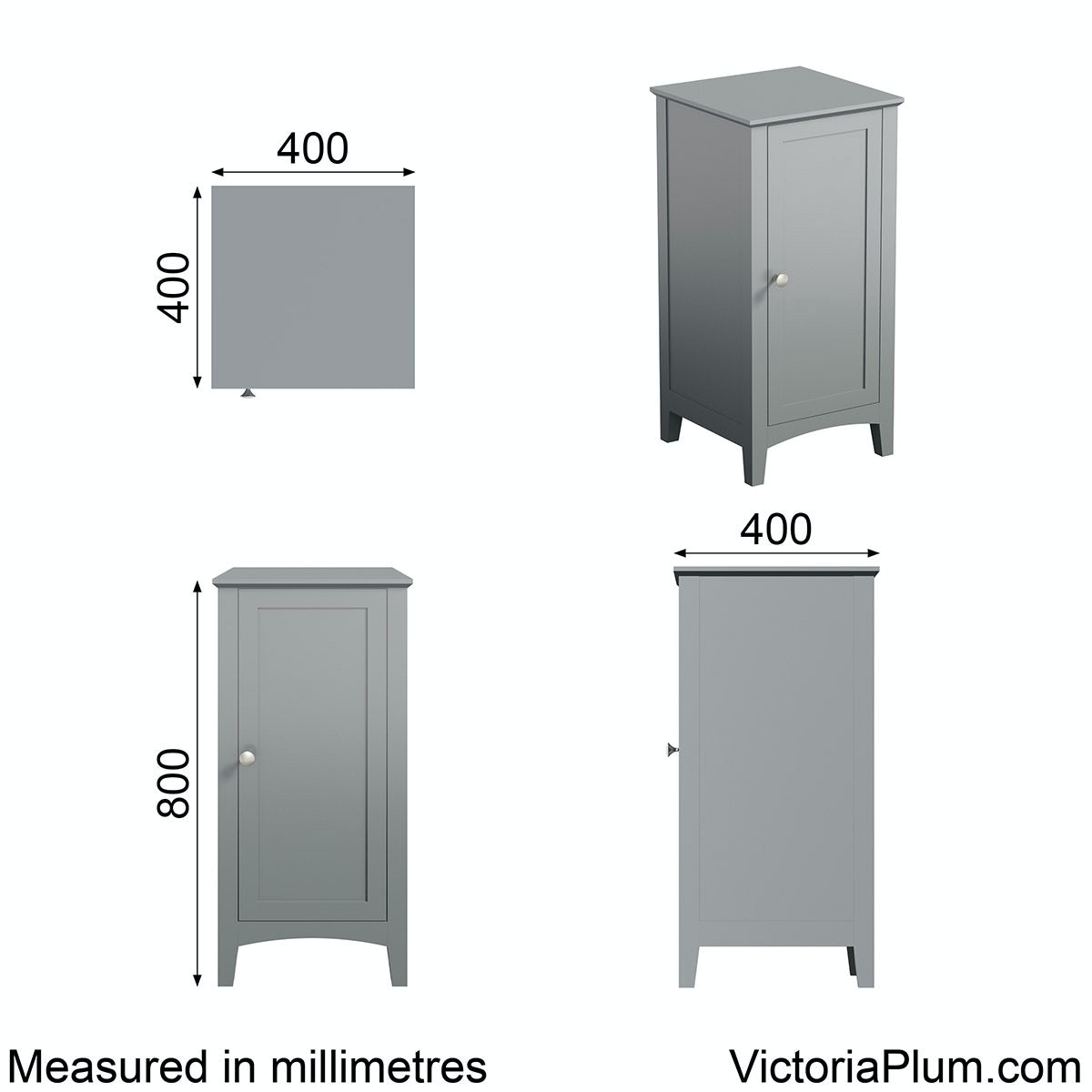 Dimensions for The Bath Co. Camberley satin grey storage unit