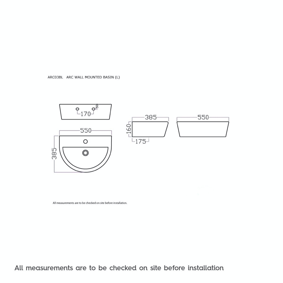 Dimensions for Mode Tate 1 tap hole wall hung basin 550mm