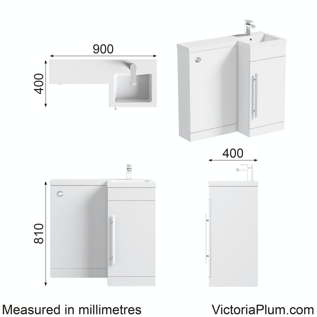 Dimensions for Orchard MySpace white right handed unit including concealed cistern