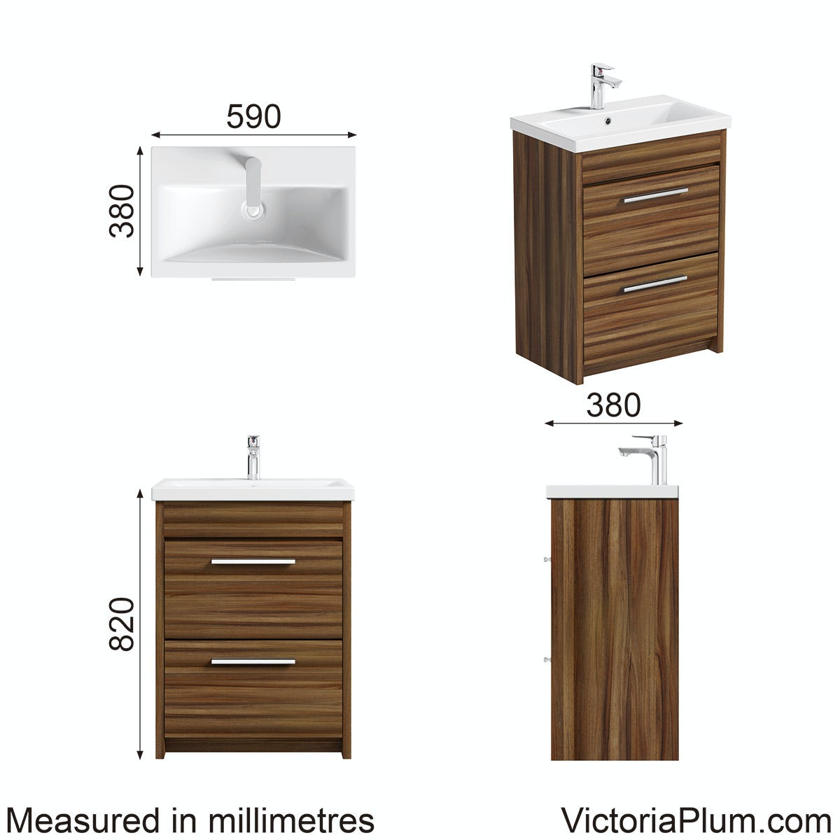 Dimensions for Clarity walnut vanity drawer unit with basin 600mm