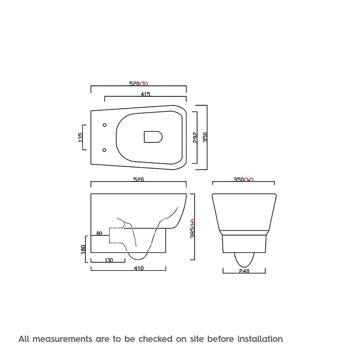 Dimensions for Mode Princeton wall hung toilet with soft close seat