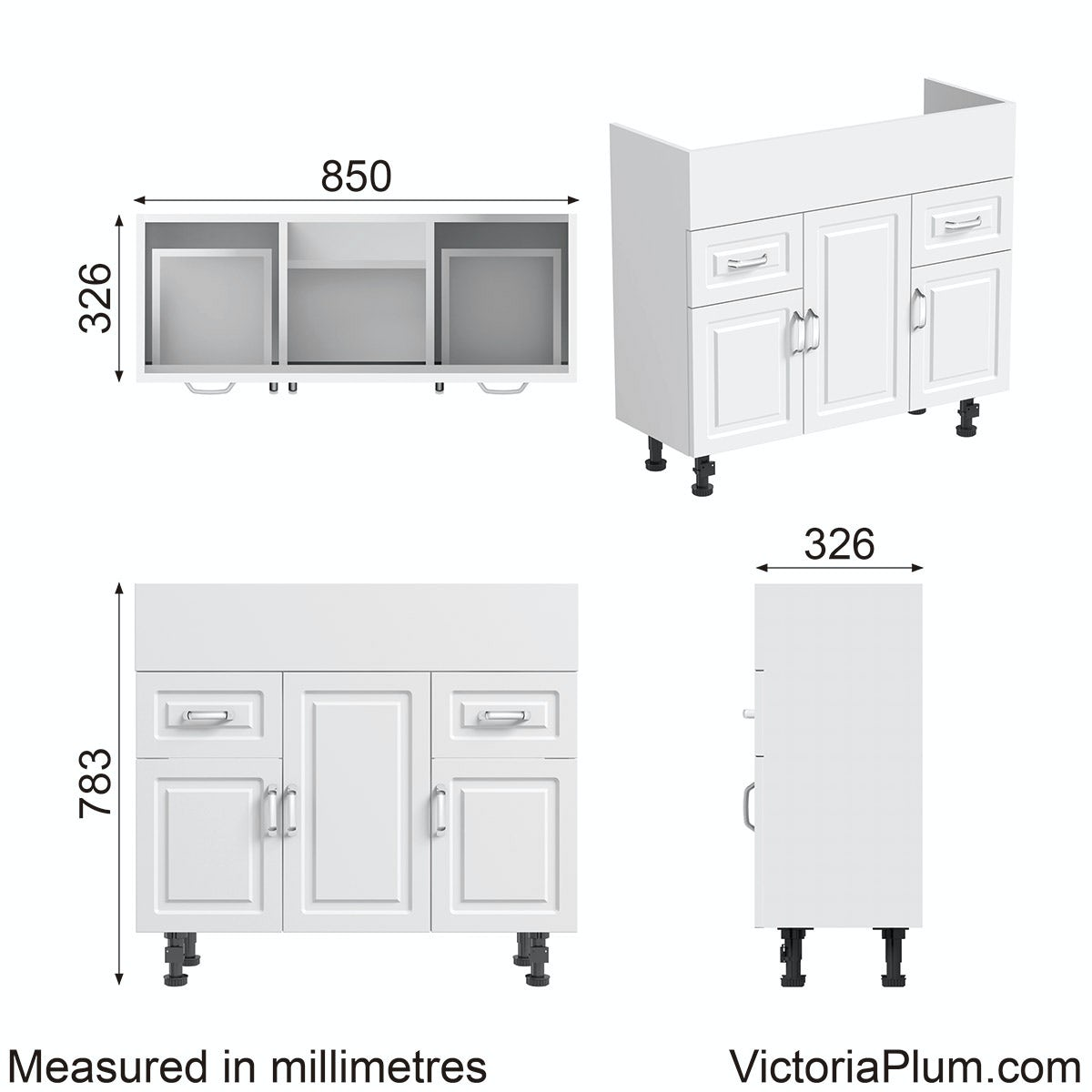 Dimensions for Orchard Florence white unit 850mm