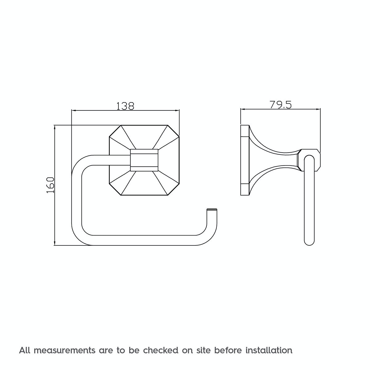 Dimensions for The Bath Co. Camberley toilet roll holder