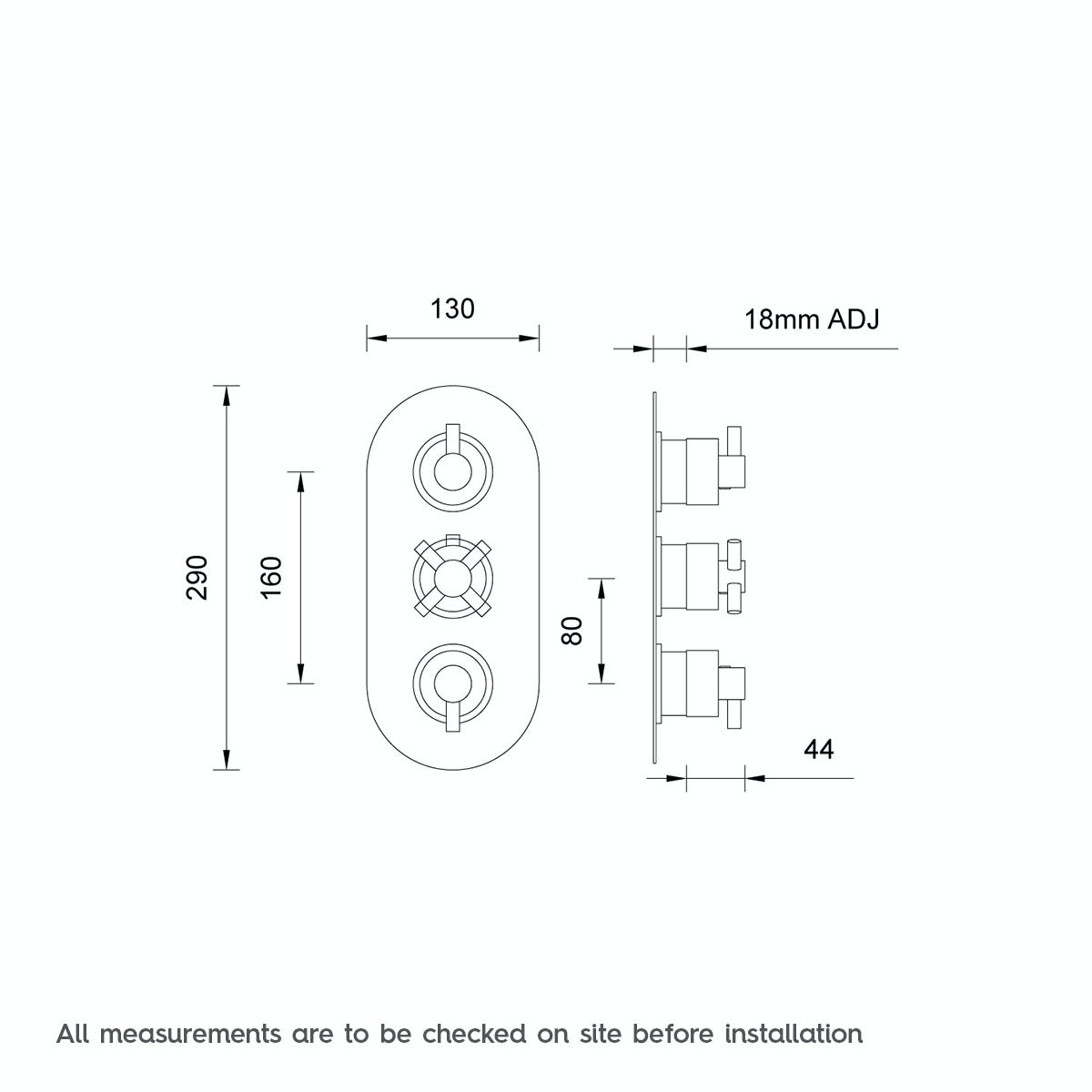 Dimensions for Mode Alexa oval triple thermostatic shower valve