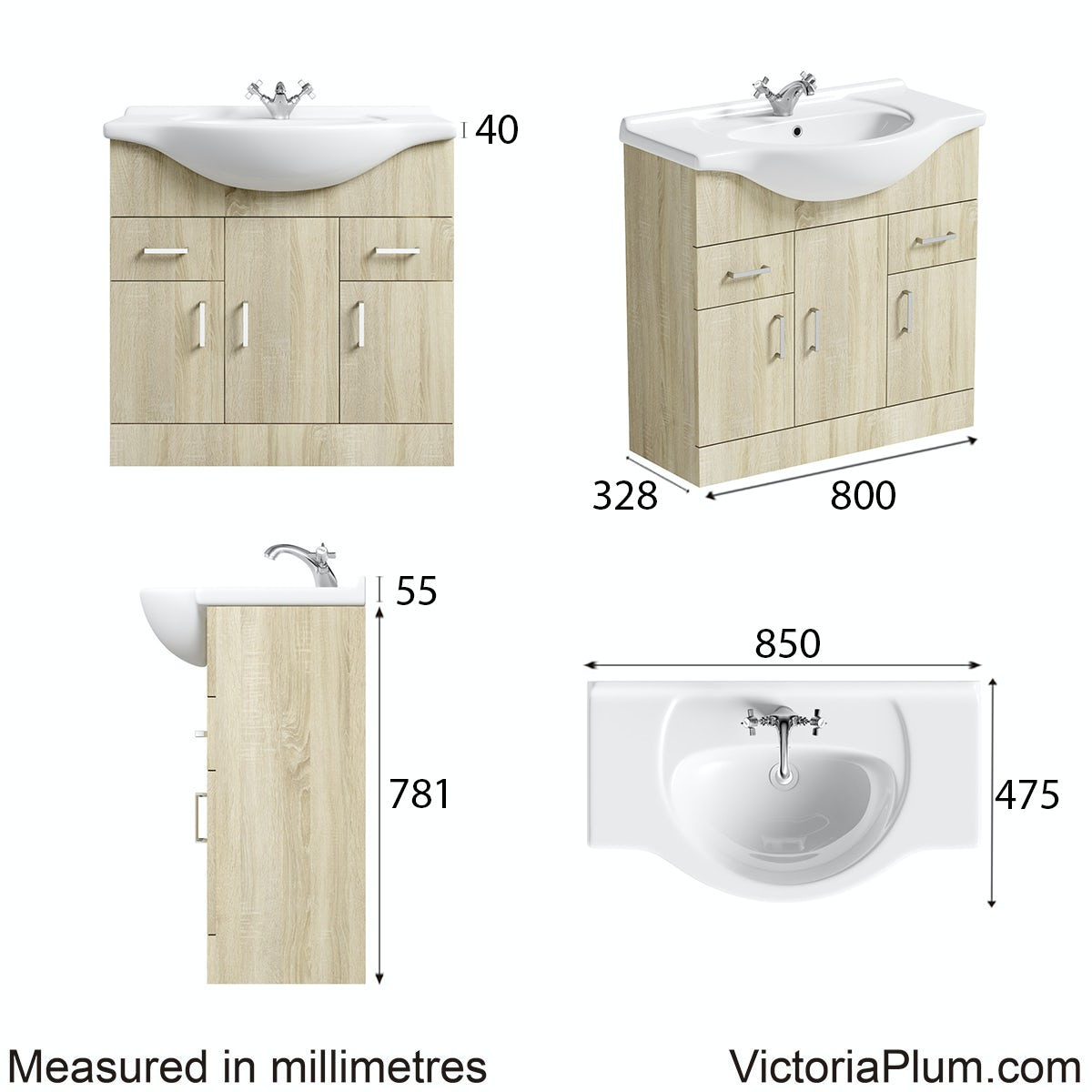 Dimensions for Orchard Eden oak vanity unit and basin 850mm