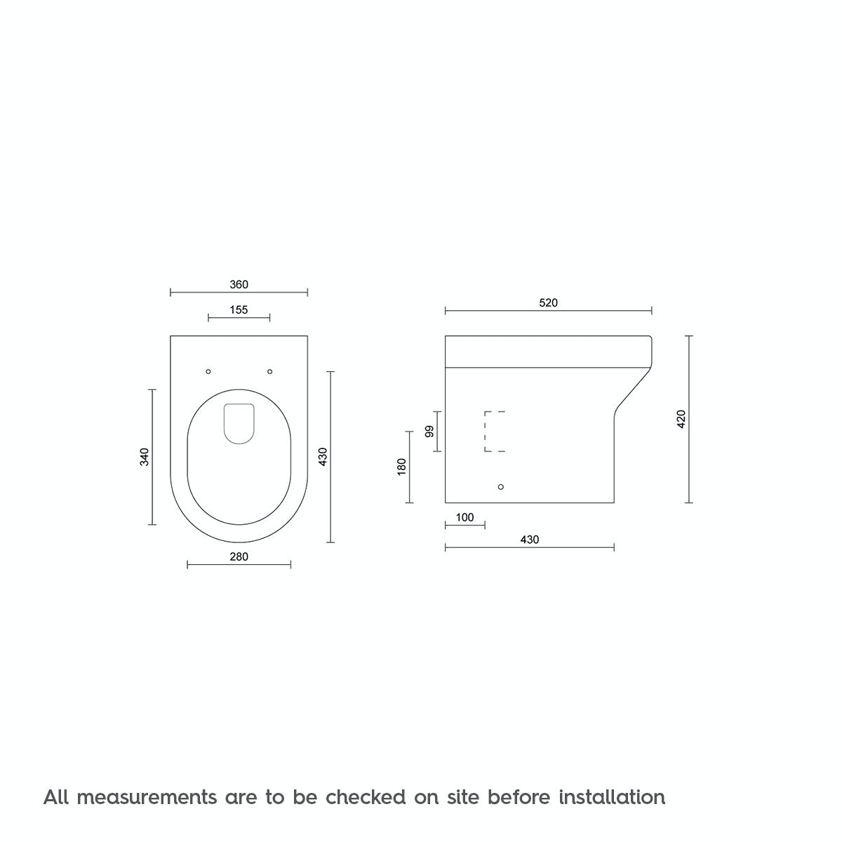 Dimensions for Orchard Oakley back to wall toilet with soft close toilet seat
