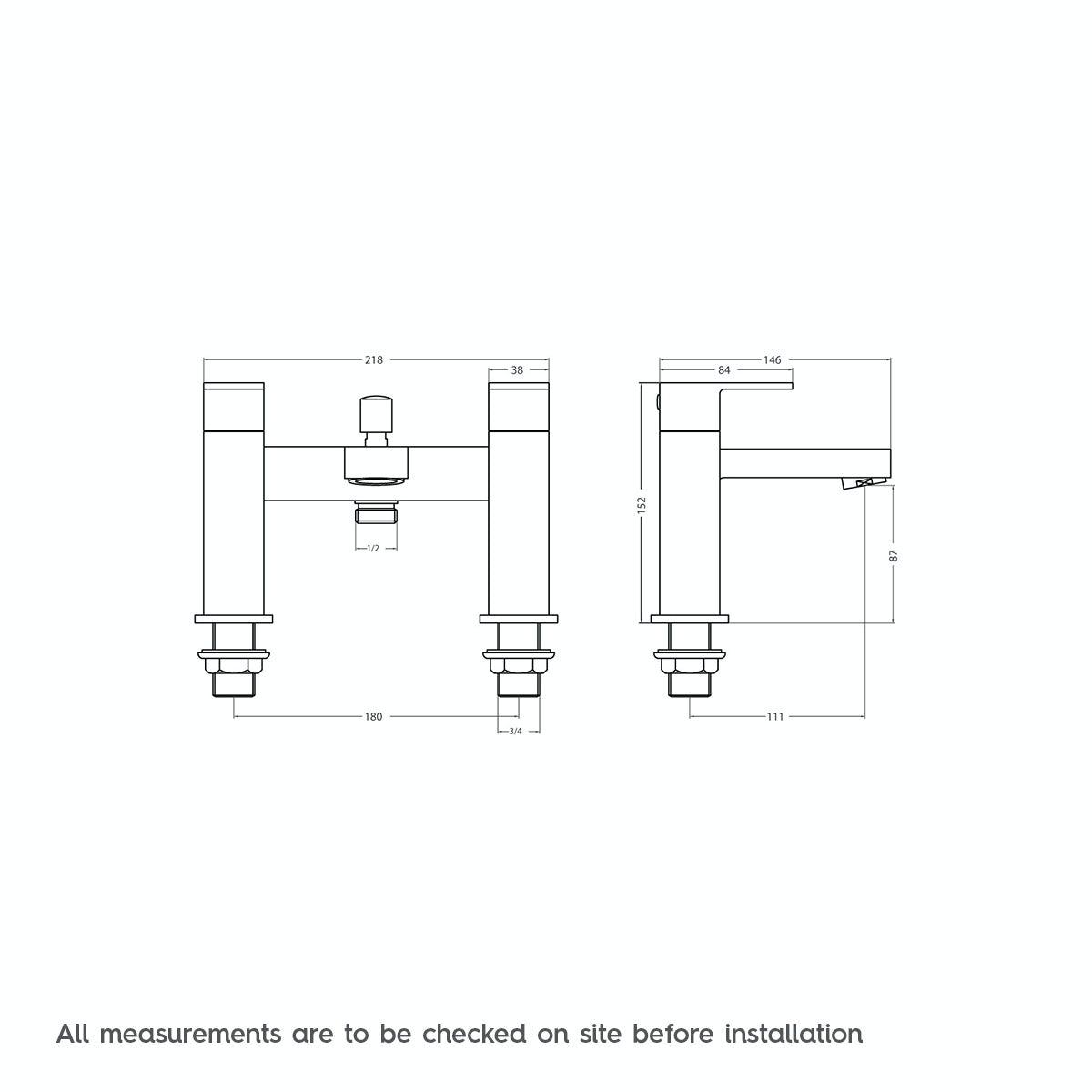 Dimensions for Richmond bath shower mixer tap
