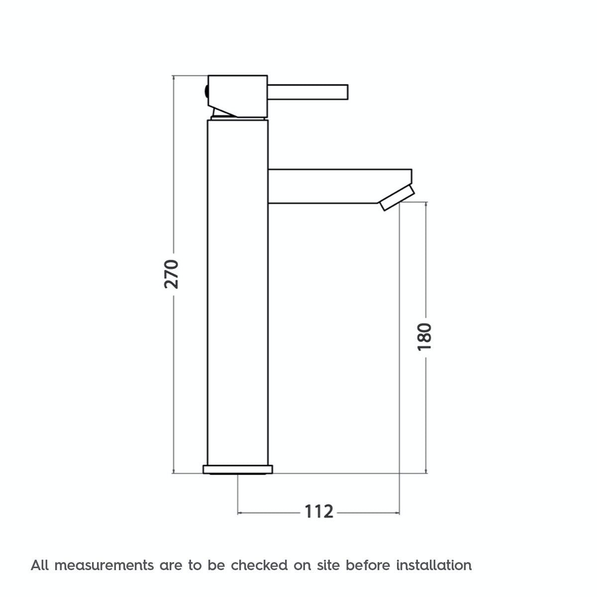 Dimensions for Cubik high rise counter top basin mixer tap