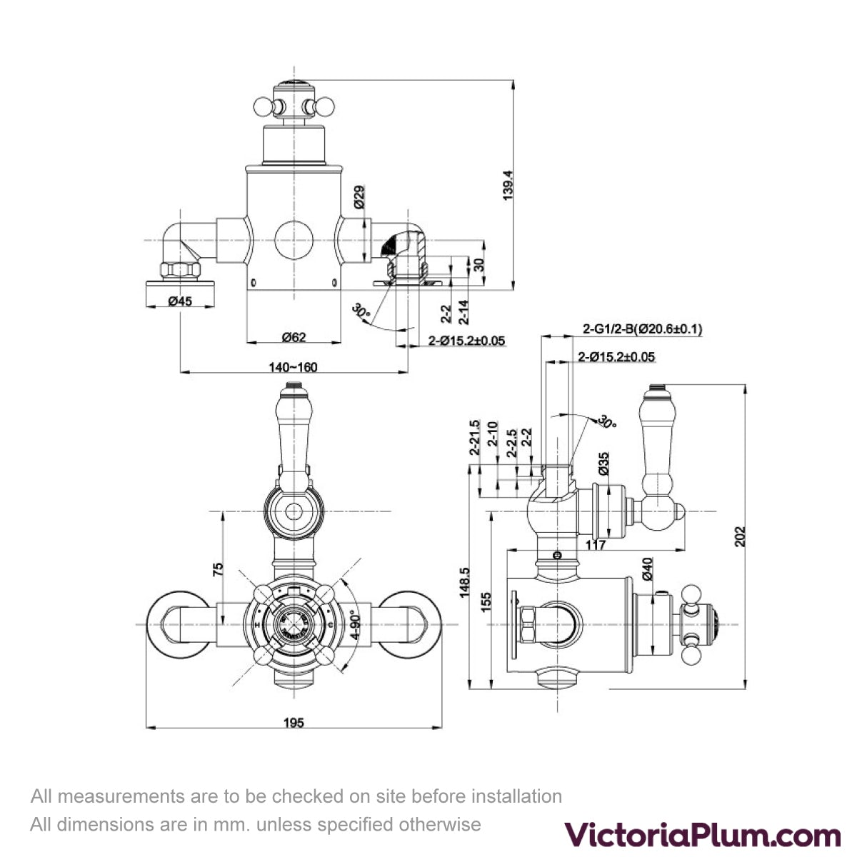 Dimensions for The Bath Co. Winchester exposed shower valve with top outlet