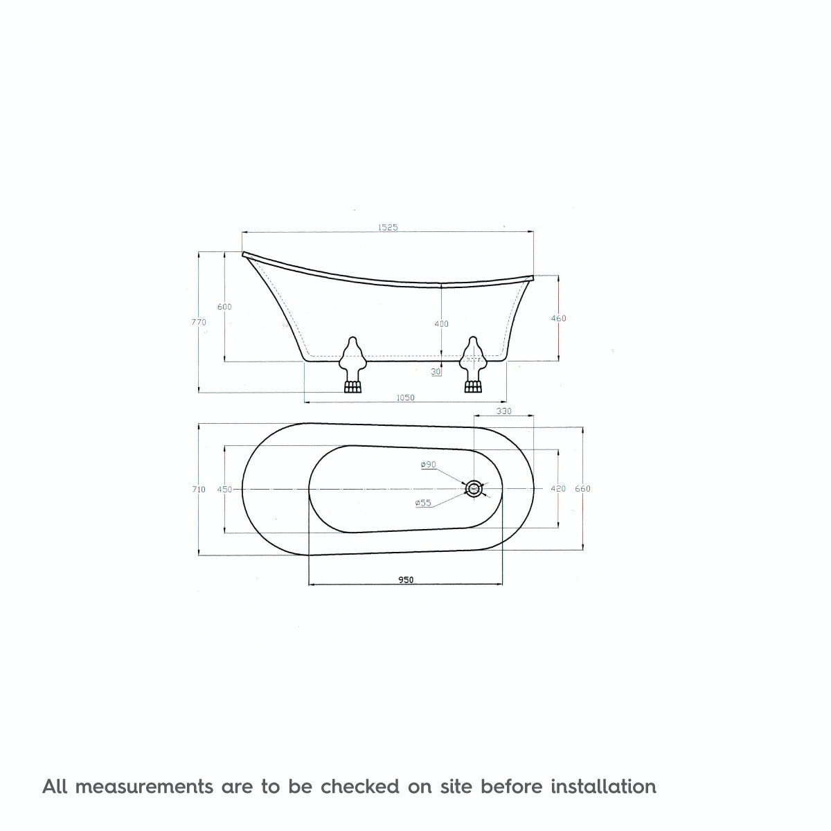 Dimensions for The Bath Co. Camberley freestanding slipper bath with ball feet