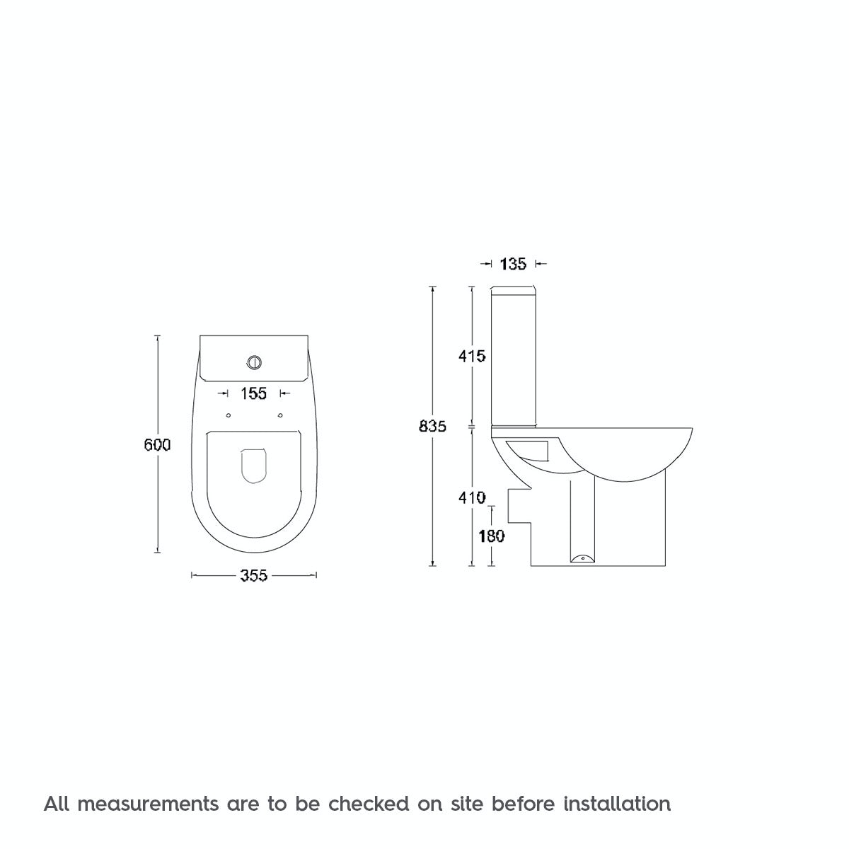 Dimensions for Orchard Elena close coupled toilet with soft close seat