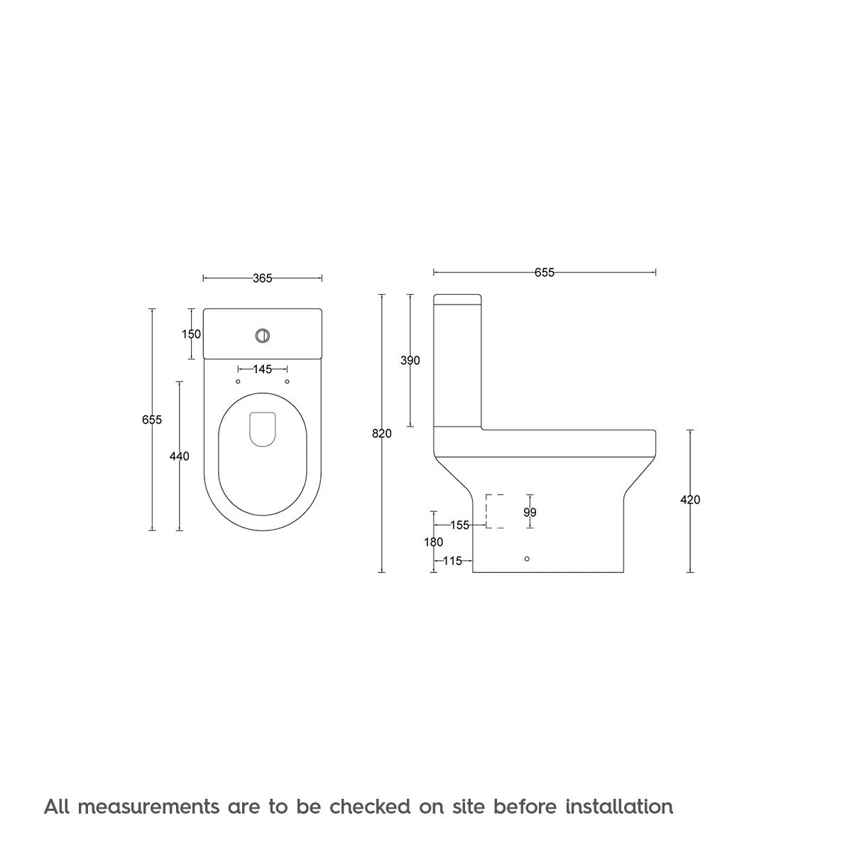 Dimensions for Orchard Wharfe close coupled toilet with soft close seat
