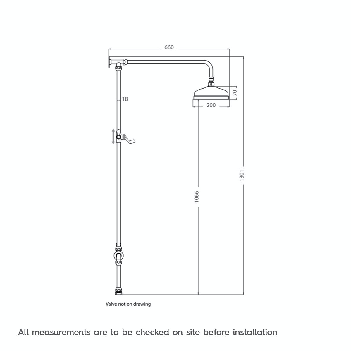 Dimensions for Traditional rain can shower head riser shower system