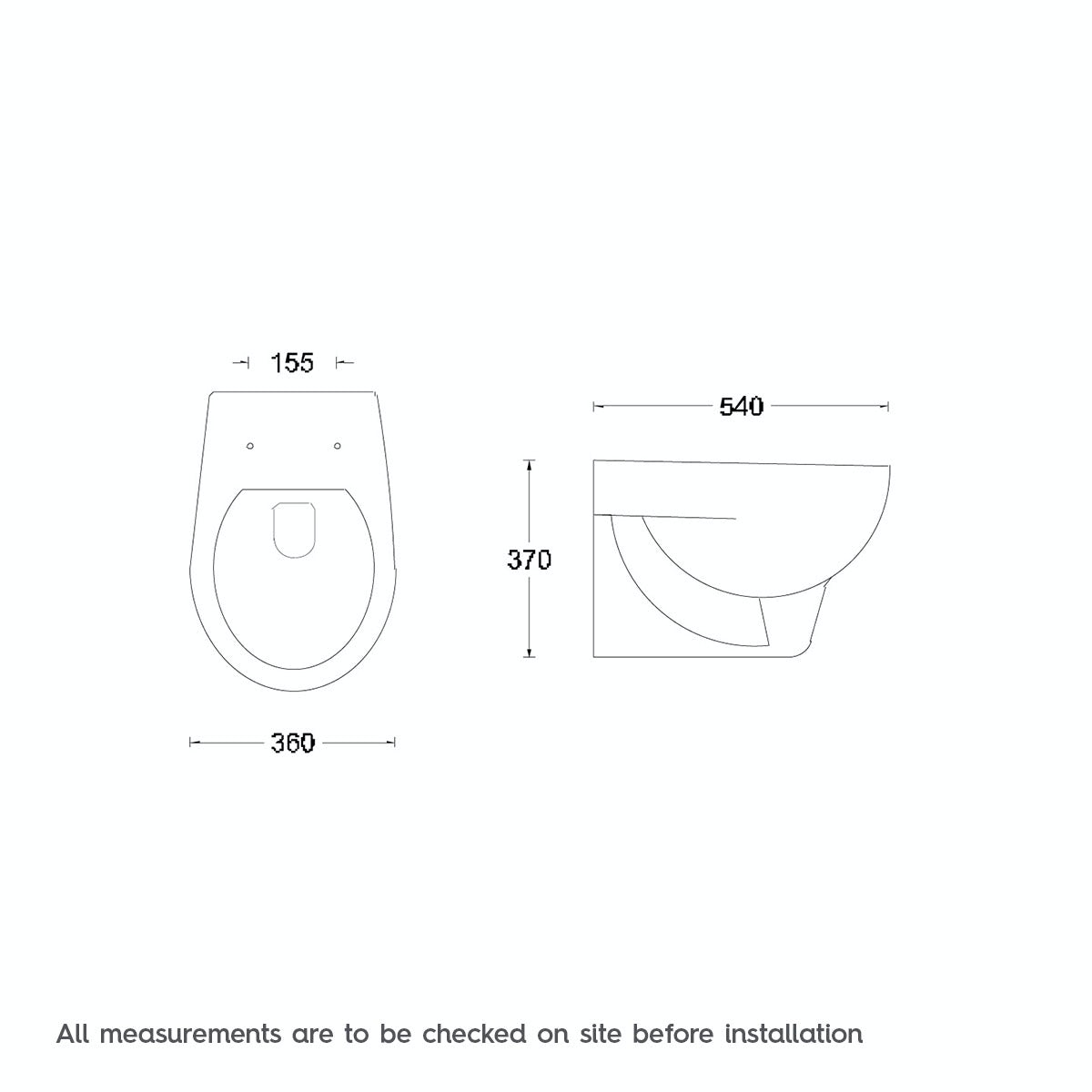 Dimensions for Orchard Elena wall hung toilet with seat