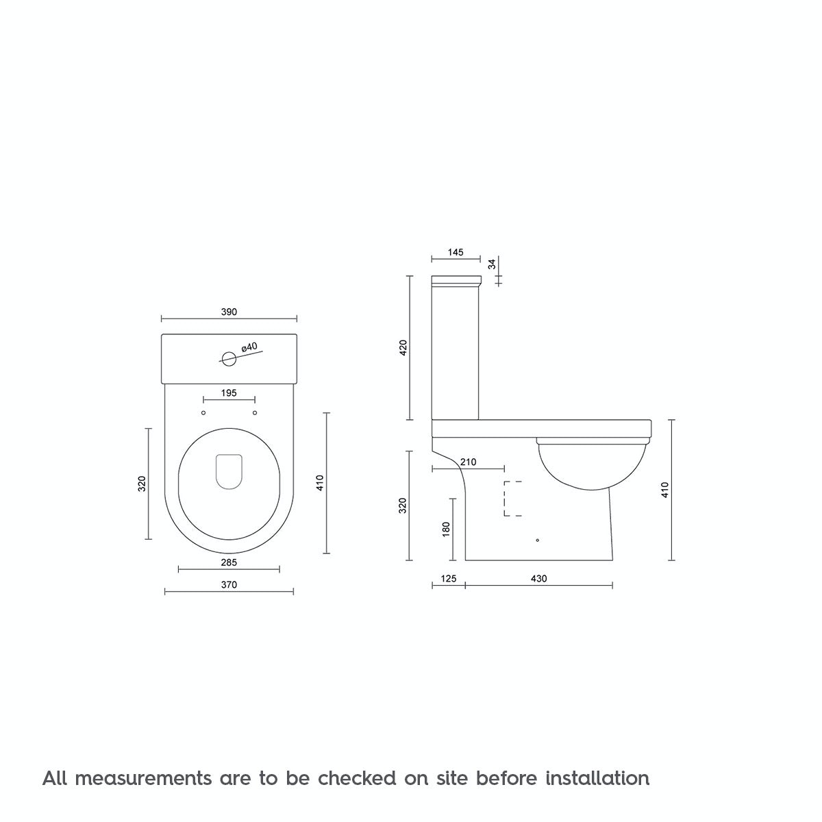 Dimensions for Orchard Elsdon close coupled toilet without toilet seat