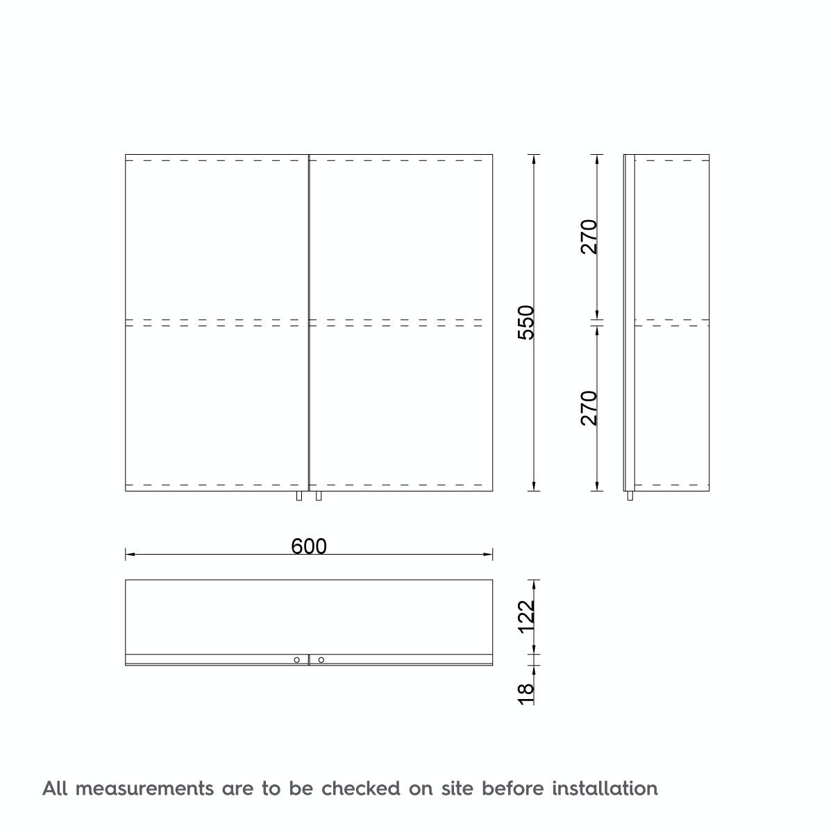 Dimensions for Emperor stainless steel bathroom cabinet 600 x 550