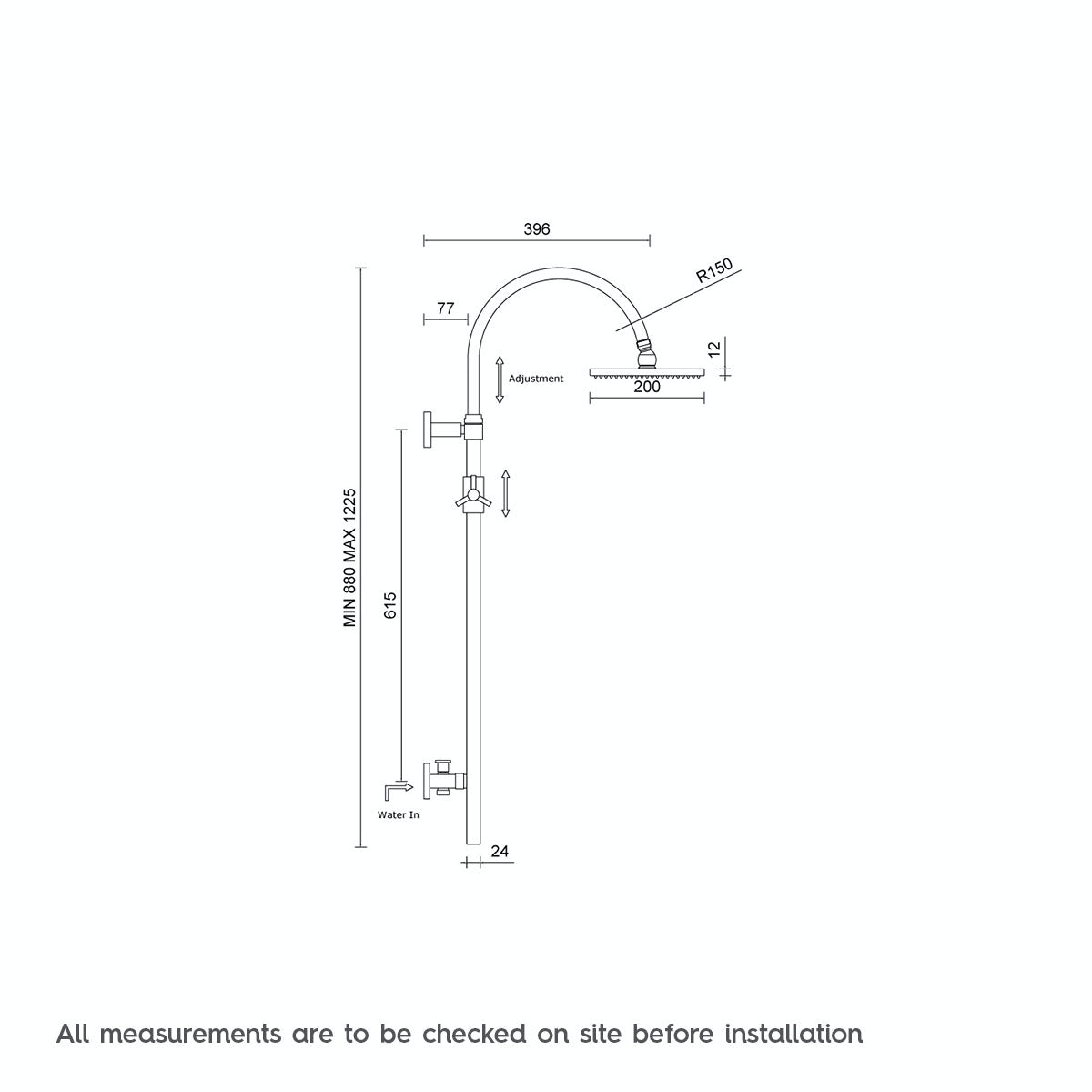 Dimensions for Mode Aria round shower riser kit