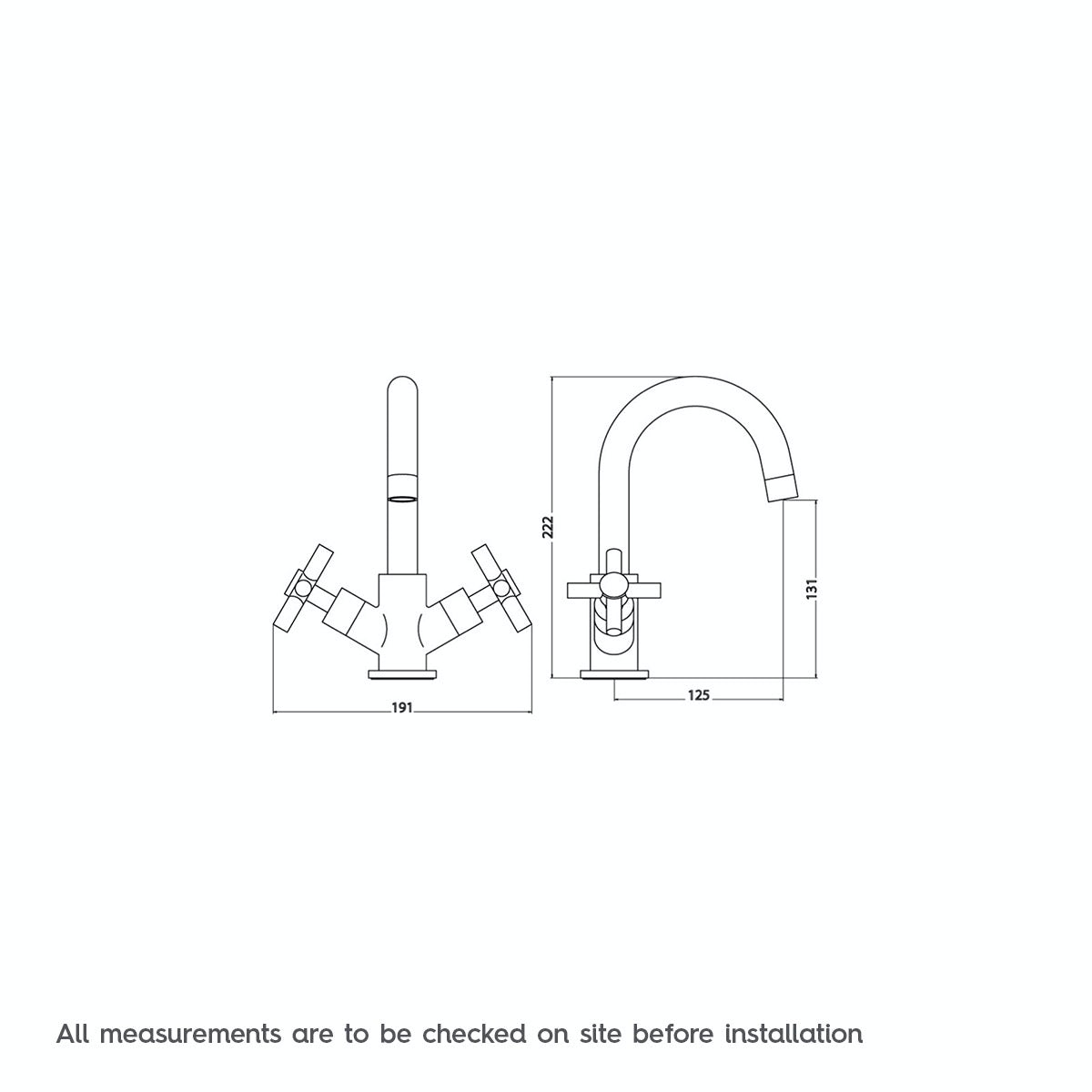 Dimensions for Mode Alexa basin mixer tap