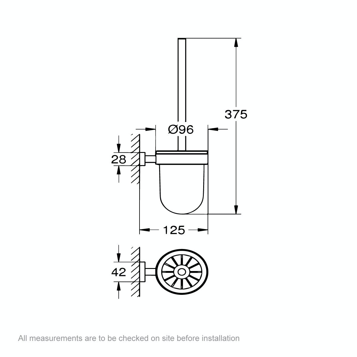 Dimensions for Grohe Essentials Cube toilet brush and holder