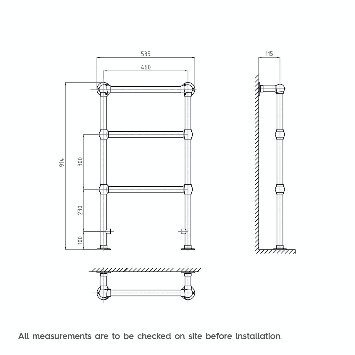 Dimensions for The Bath Co. Winchester heated towel rail 914 x 535
