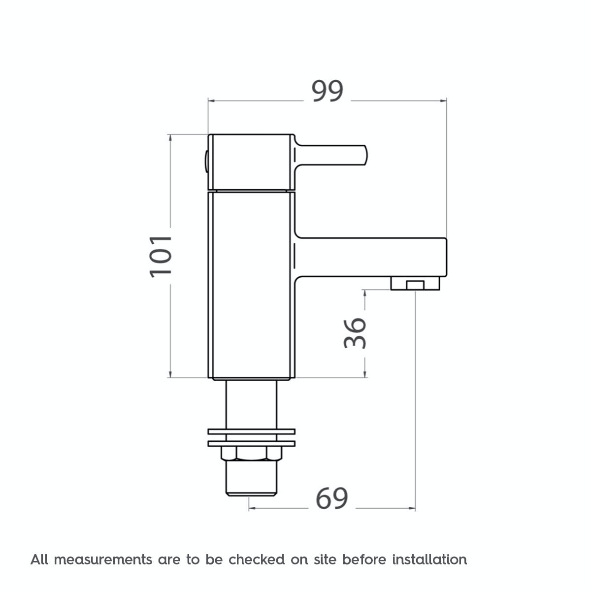 Dimensions for Orchard Derwent basin pillar taps