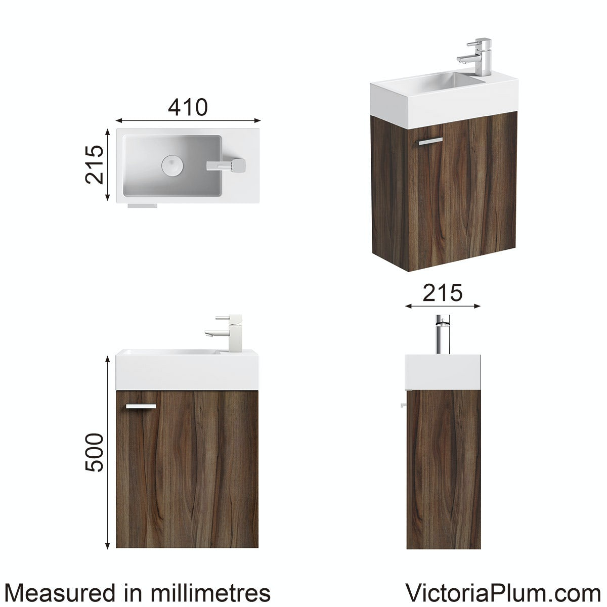 Dimensions for Clarity Compact walnut cloakroom wall hung unit with resin basin 410mm