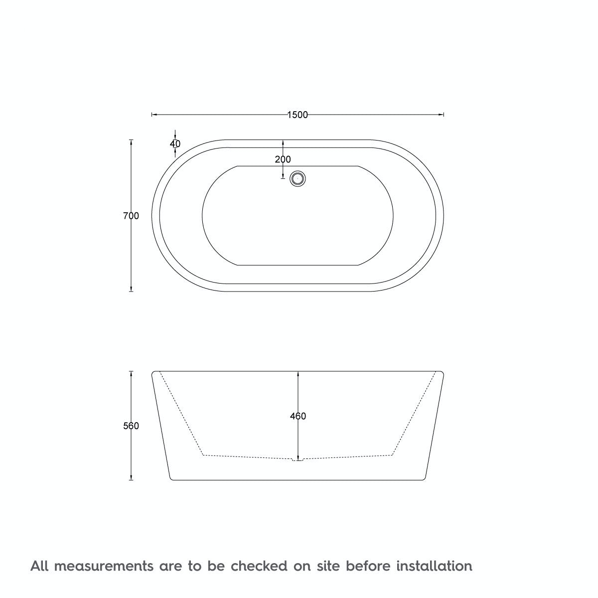 Dimensions for 1500 x 700