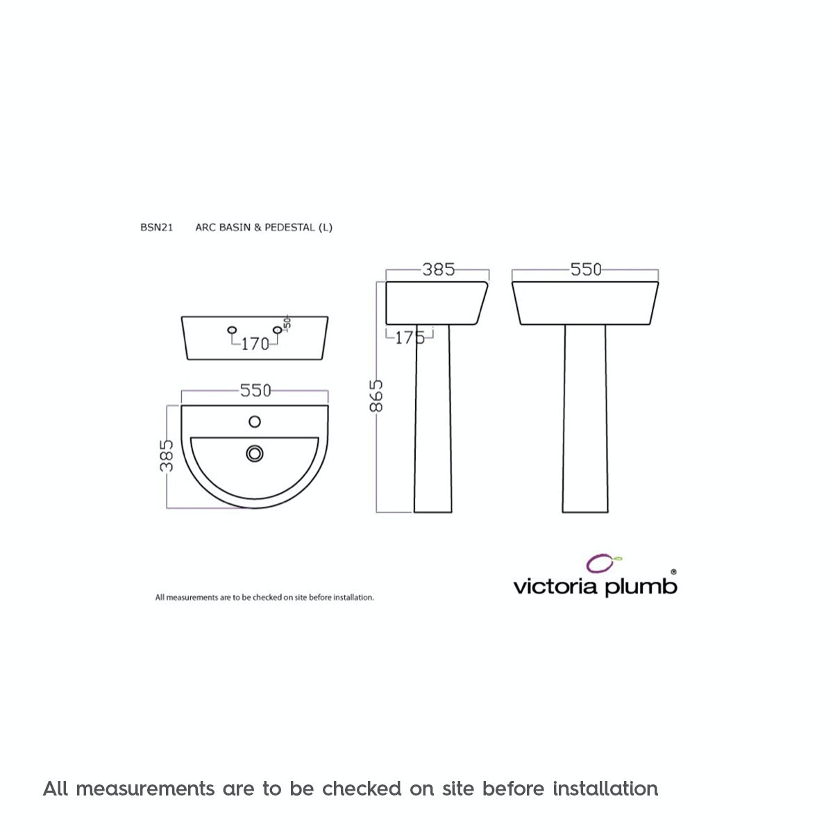 Dimensions for Mode Tate 1 tap hole full pedestal basin 550mm