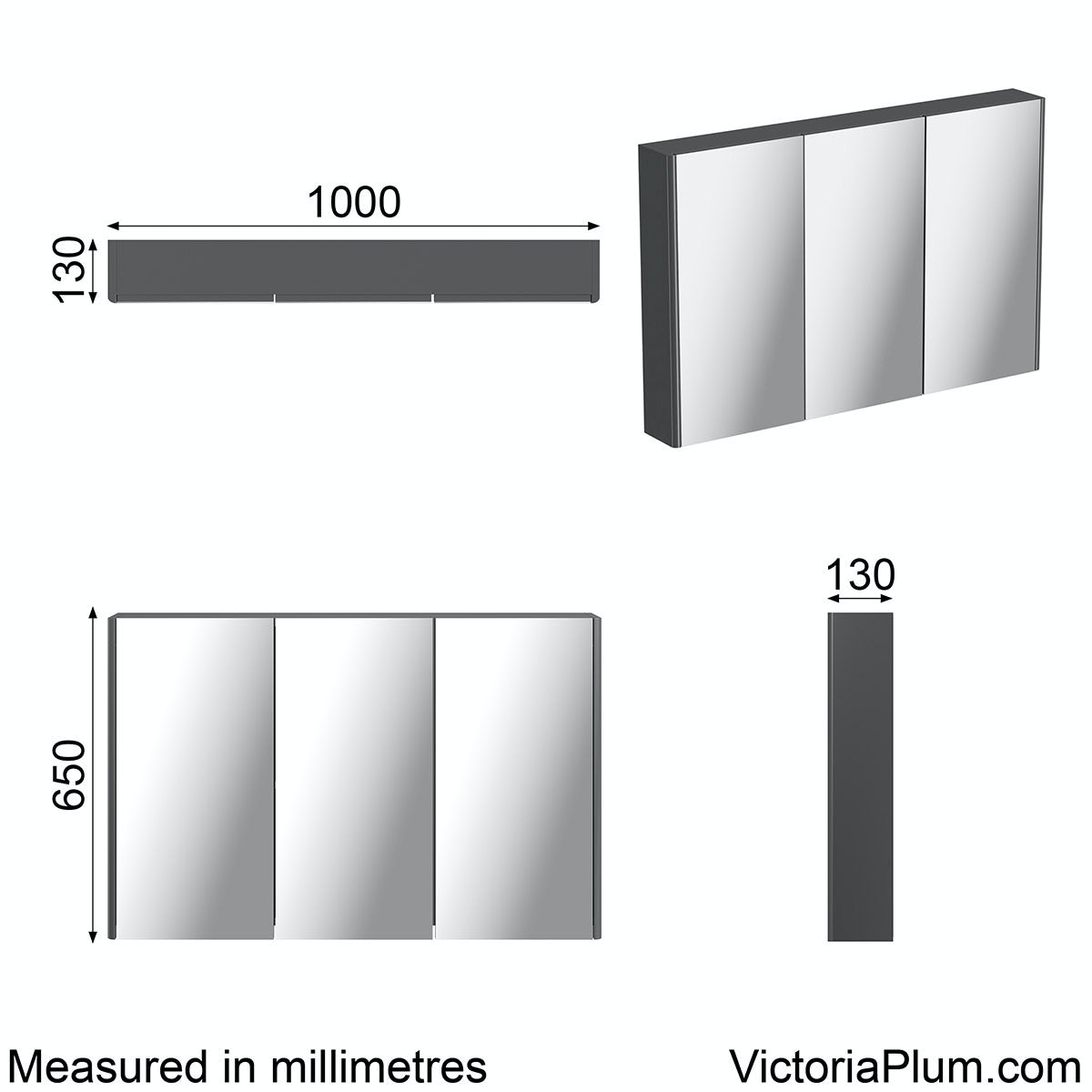 Dimensions for Mode slate curved mirror cabinet 1000mm